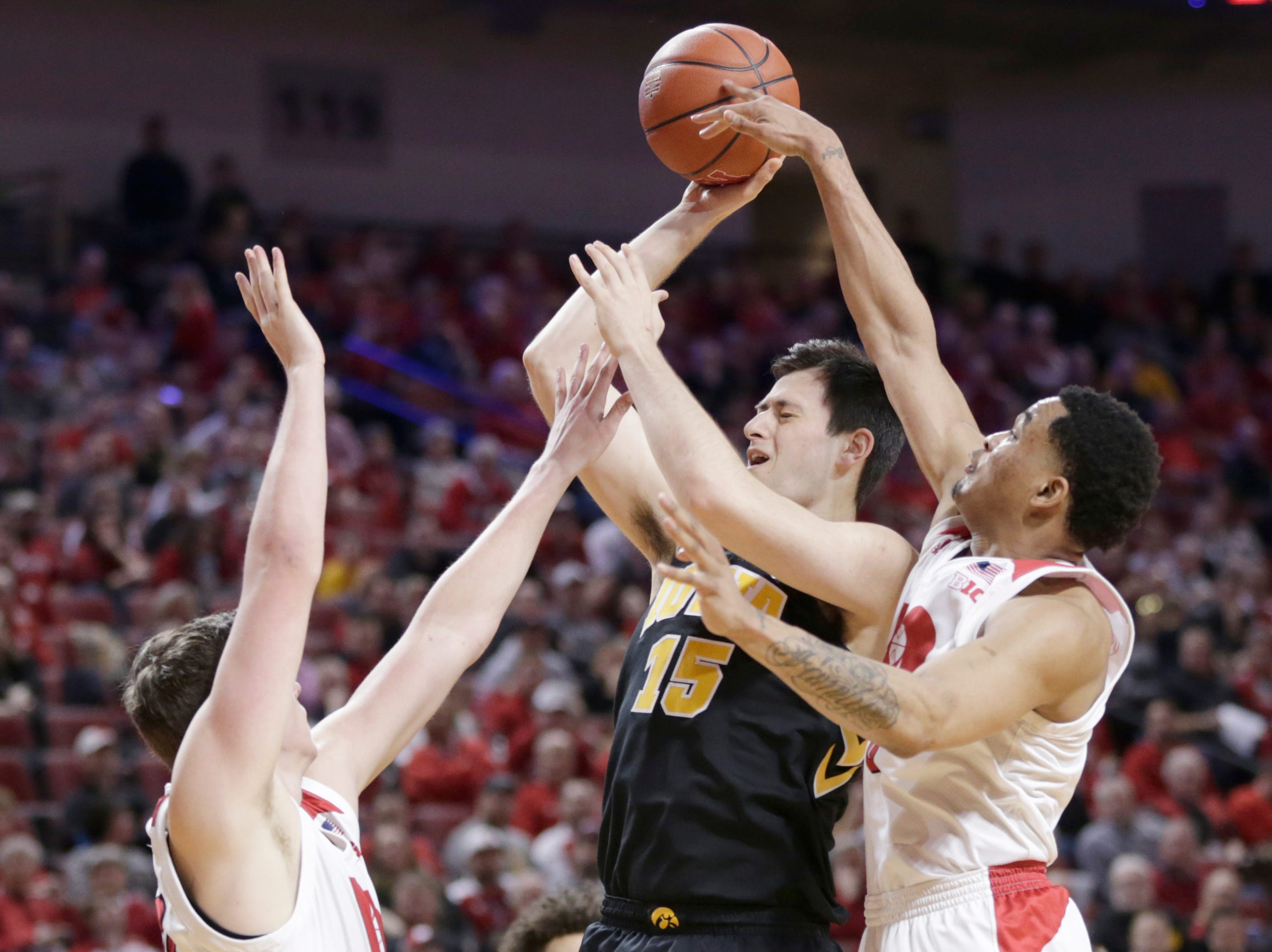 6. Iowa (21-10, 10-10): The Hawkeyes had coach Fran McCaffrey back for the final game of the regular season after his two-game suspension, but even that couldn't end a four-game skid to close the season. The Hawkeyes blew a 16-point lead in the second half at Nebraska on Sunday and enter the postseason losing five of six. They've got a spot in the NCAA Tournament, but momentum has long since left the Hawkeyes. Last week: 7.