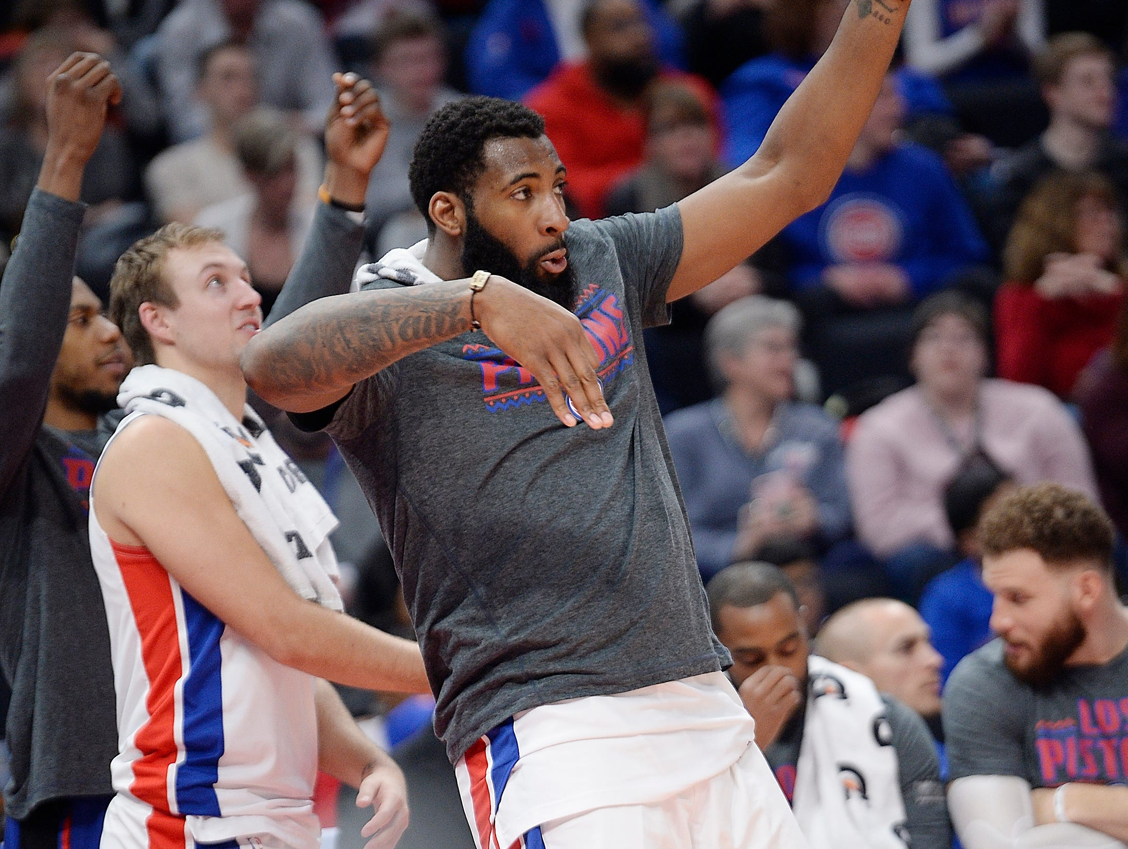 Pistons' Andre Drummond celebrates in the fourth quarter after a Langston Galloway 3-point basket.