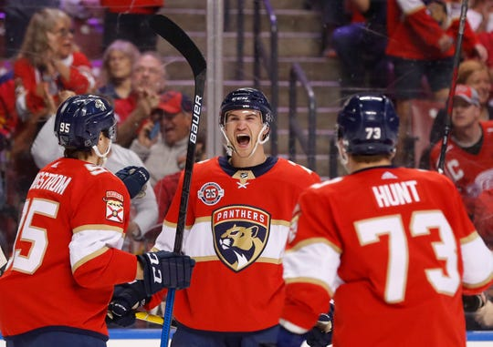 Florida Panthers defenseman Josh Brown center, celebrates his first NHL goal with left wing Dryden Hunt (73) and center Henrik Borgstrom (95) during the first period.