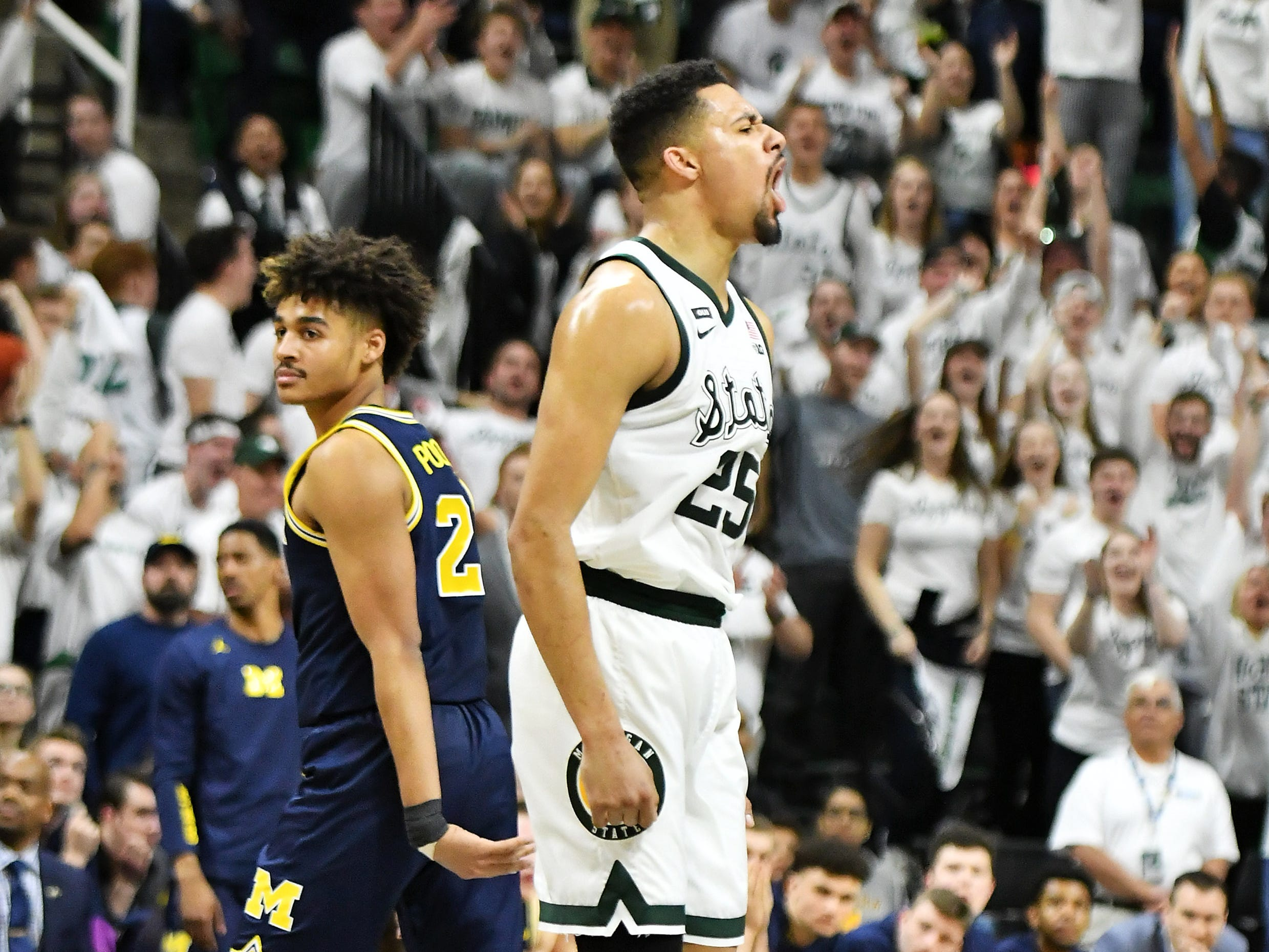 Michigan State forward Kenny Goins (25) reacts after he hits a shot in the second half.