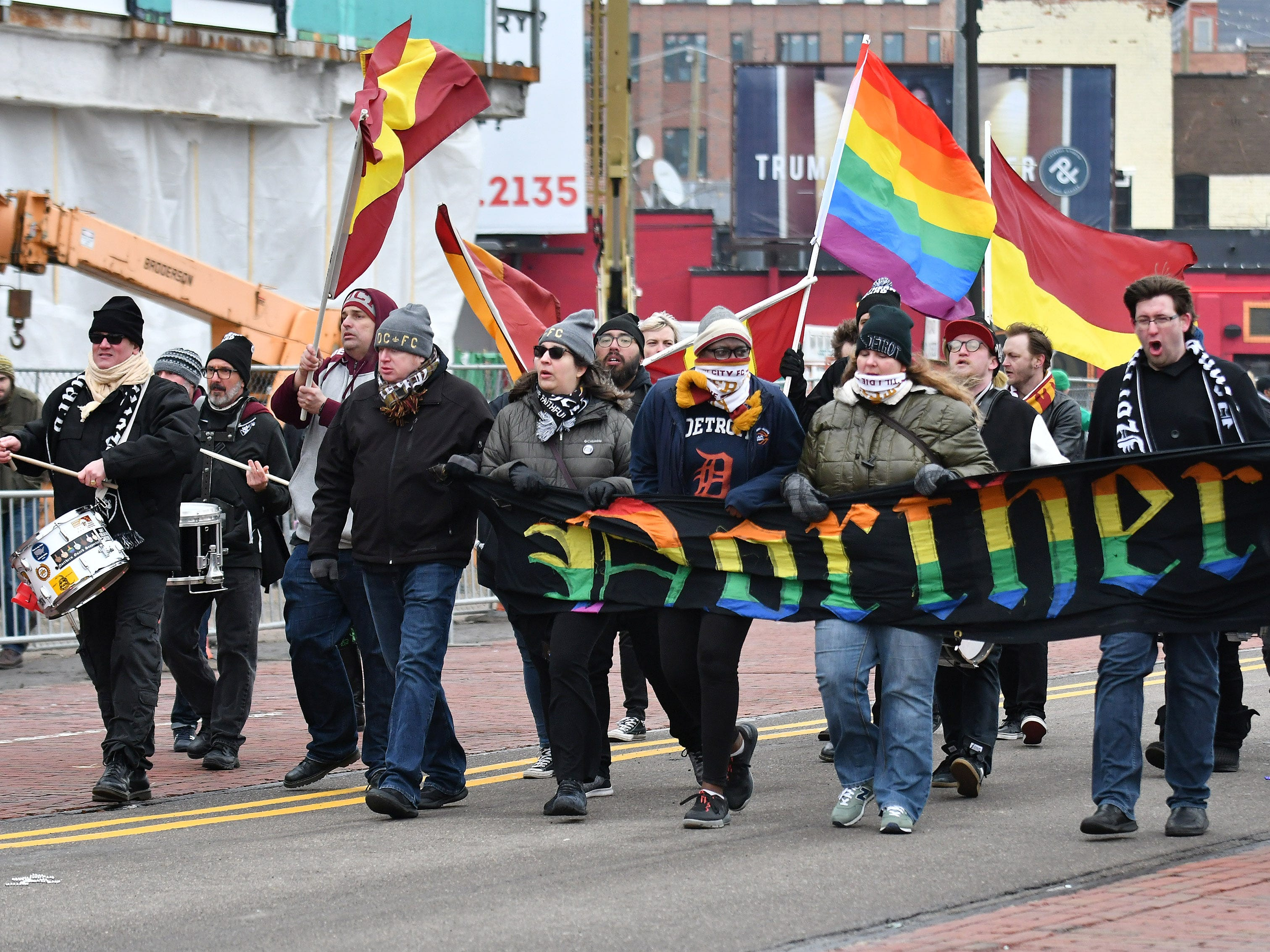 Supporters of the Detroit City Football Club march in the parade.