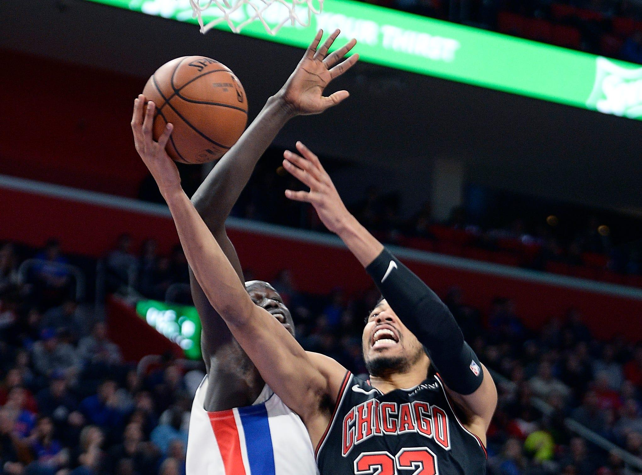 Pistons' Thon Maker blocks the shot of Bulls' Otto Porter Jr. in the second quarter.