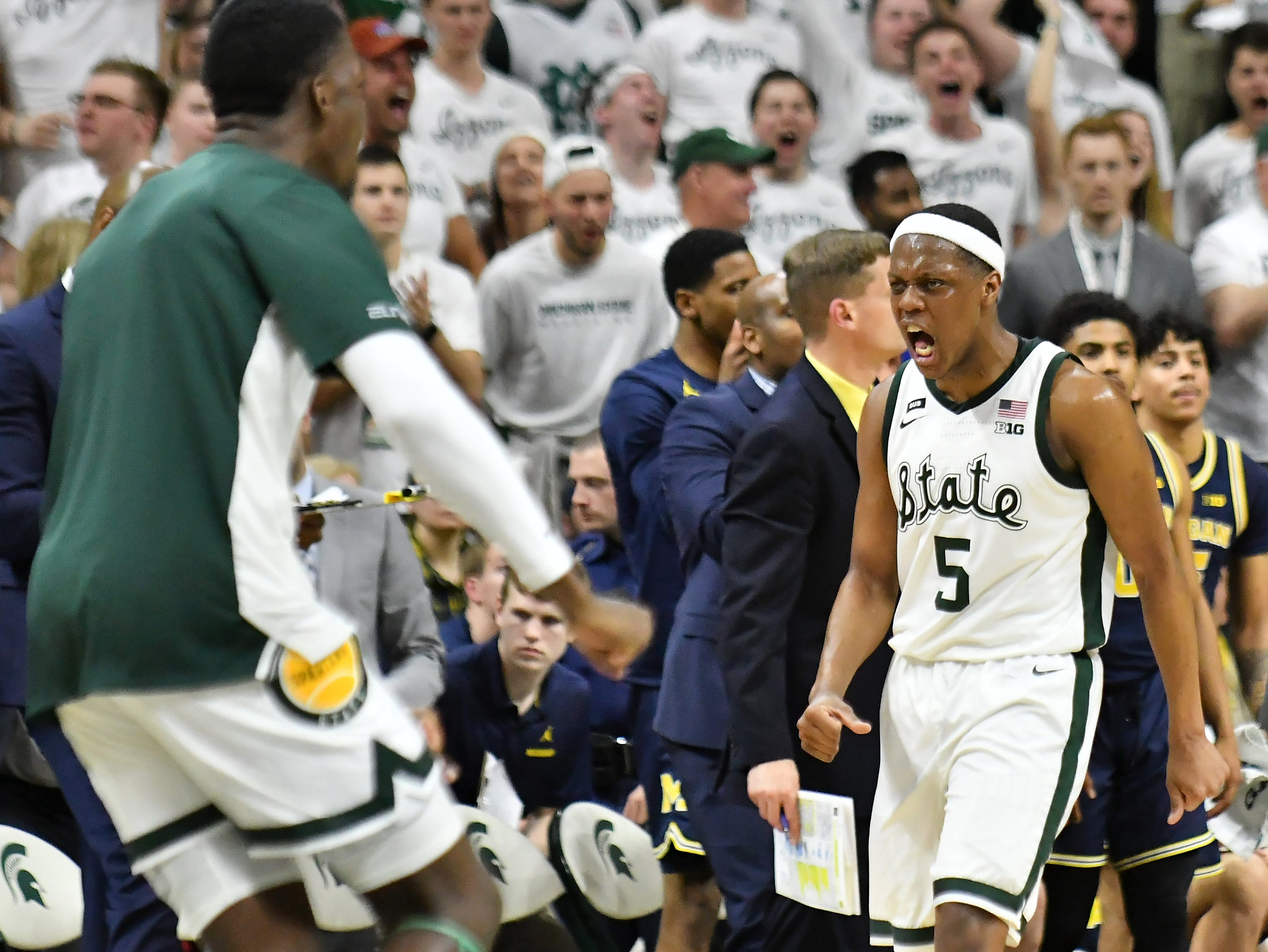 Michigan State guard Cassius Winston (5) reacts in the second half.   Michigan vs. Michigan State at the Breslin Center in East Lansing, Mich. on March 9, 2019.  Michigan State wins, 75-63. (Robin Buckson / Detroit News)