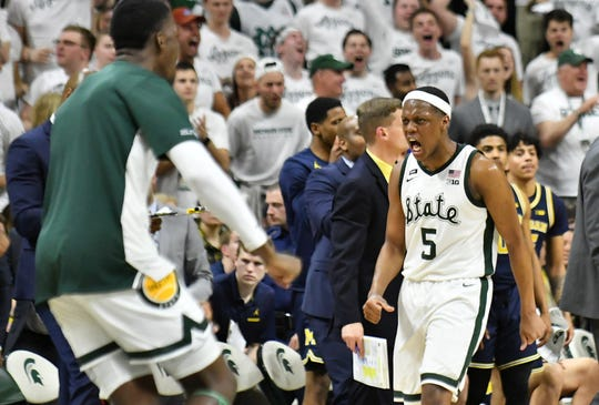 Michigan State guard Cassius Winsto reacts in the second half of the win over Michigan earlier this month.