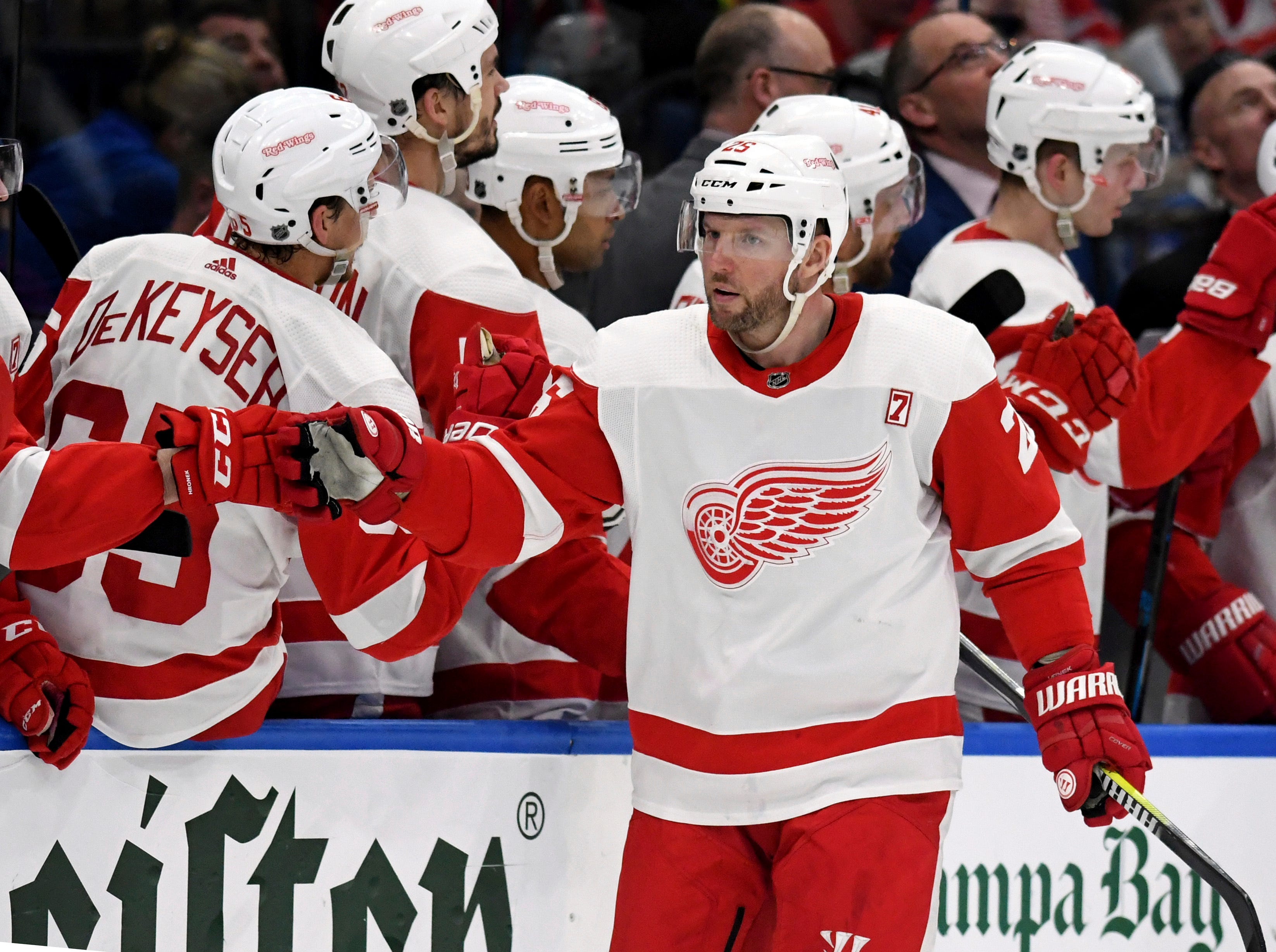 Detroit Red Wings left wing Thomas Vanek (26) celebrates his second period goal during an NHL hockey game against the Tampa Bay Lightning Saturday, March 9, 2019, in Tampa, Fla. (AP Photo/Jason Behnken)