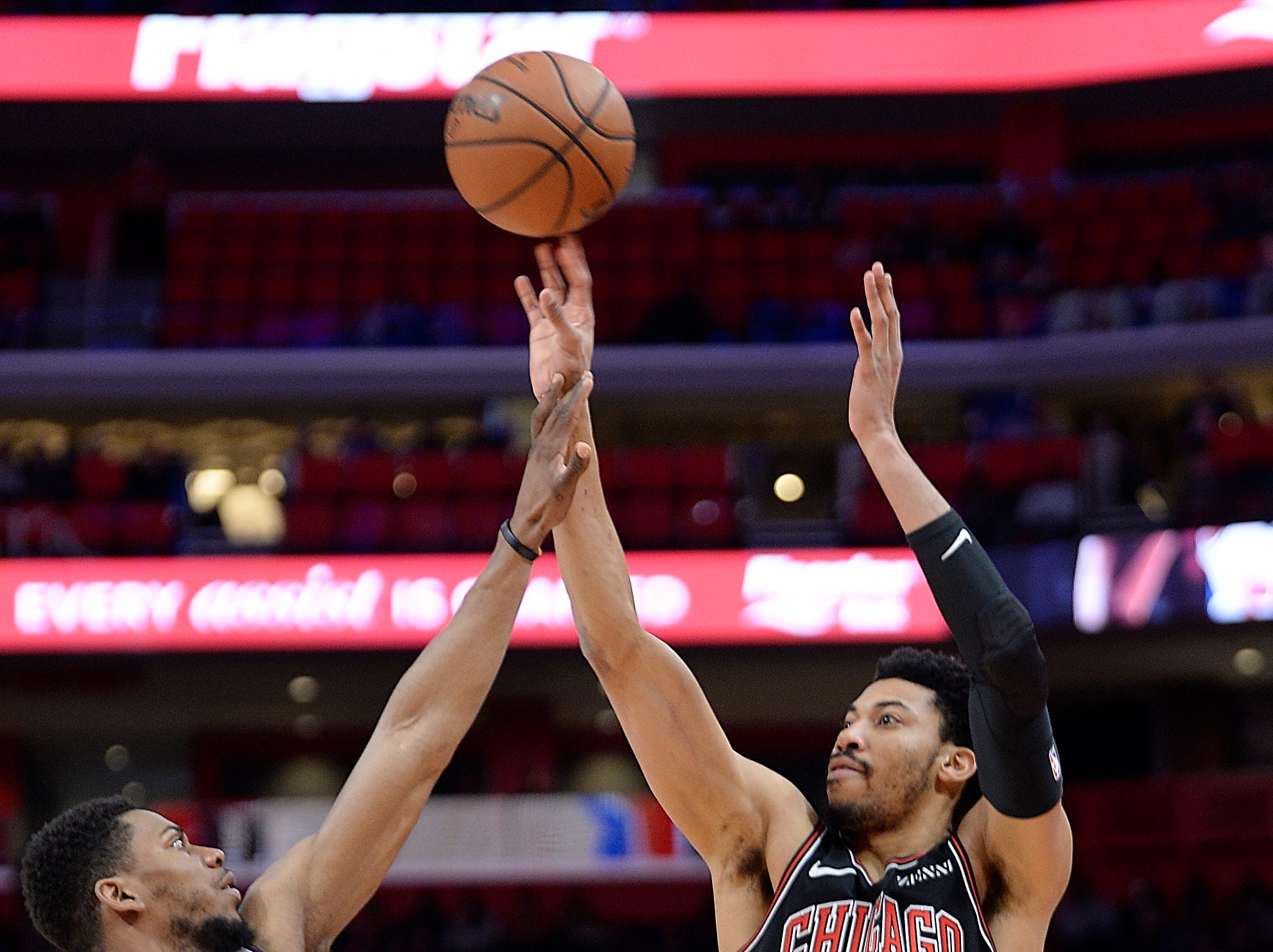 Bulls' Otto Porter Jr. shoots over Pistons' Glenn Robinson III. in the first quarter.