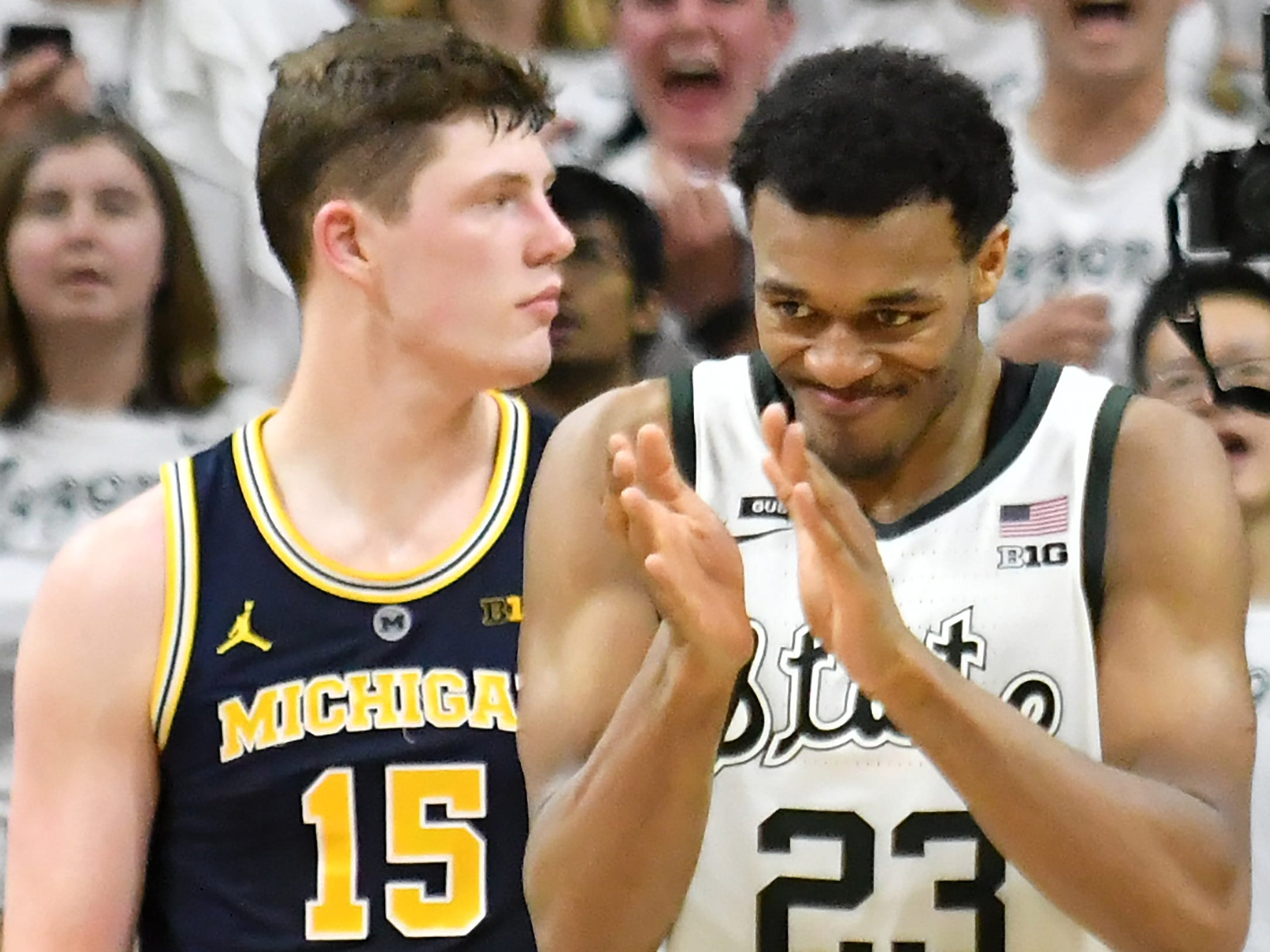 Michigan State forward Xavier Tillman (23) reacts after a Michigan turnover in the second half.