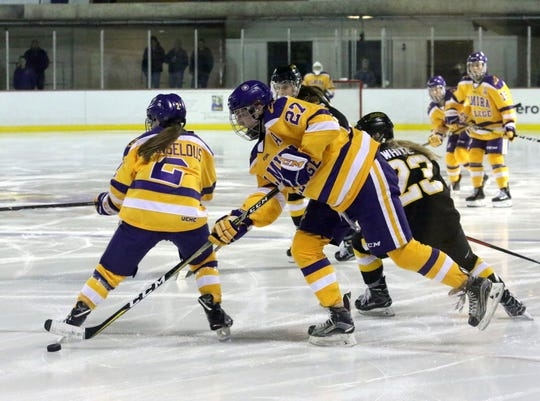 Elmira College's Katie Granato (27) gets set to take a shot during an NCAA Division III women's hockey quarterfinal against Adrian on March 9, 2019 at the Murray Athletic Center in Pine Valley