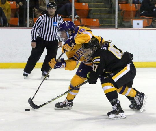 Elmira College's Emma Crocker (16) and Adrian's Rylee Bates (47) battle for the puck during an NCAA Division III women's hockey quarterfinal March 9, 2019 at the Murray Athletic Center in Pine Valley