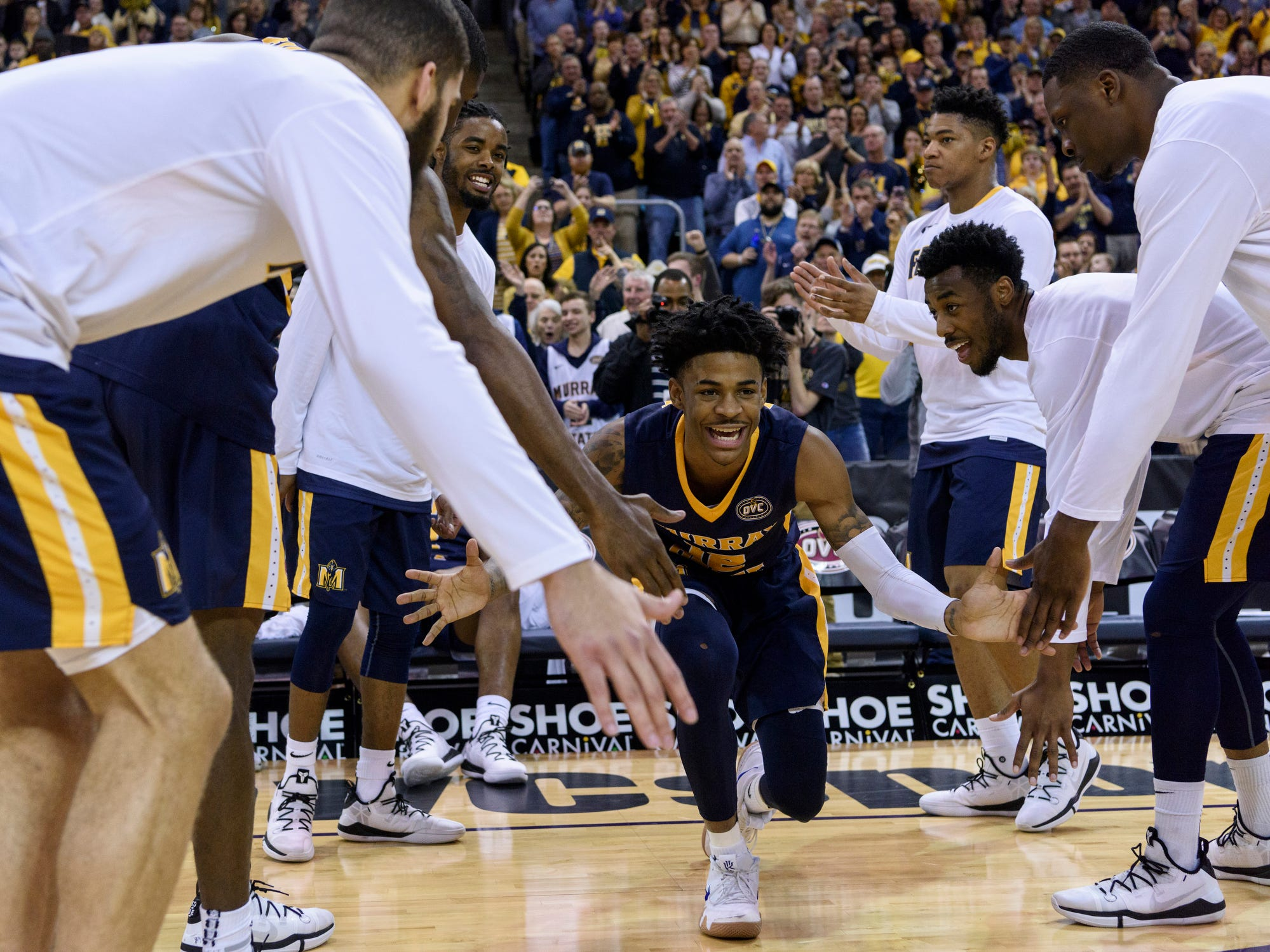 Murray State's Ja Morant (12) is announced as a starter before the  Ohio Valley Conference men's basketball championship against the Belmont University Bruins at Ford Center in Evansville, Ind., Saturday, March 9, 2019.