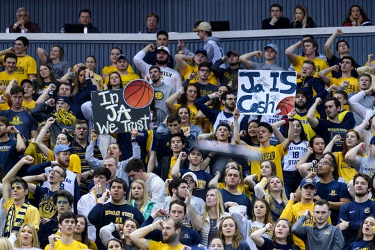Murray State Racers and Ja Morant fans fill the Ford Center during the Ohio Valley Conference men's basketball championship at Ford Center in Evansville, Ind., Saturday, March 9, 2019. The Racers earned the OVC men's championship title after defeating the Belmont Bruins, 77-65, in front of over 10,000 people.
