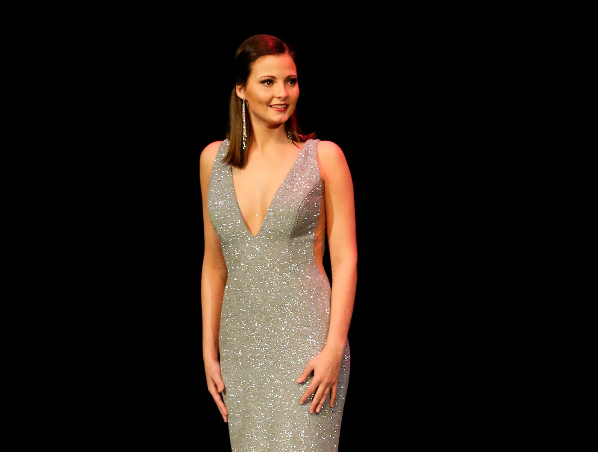 Miss Wisconsin Central contestant Rachel Coulthurst participates in the evening wear portion of the Miss Fond du Lac, Miss Wisconsin Central and Miss Fond du Lac's Outstanding Teen 2019 scholarship competitions Saturday, March 9, 2019 at the Goodrich Little Theater in Fond du Lac, Wis. Doug Raflik/USA TODAY NETWORK-Wisconsin
