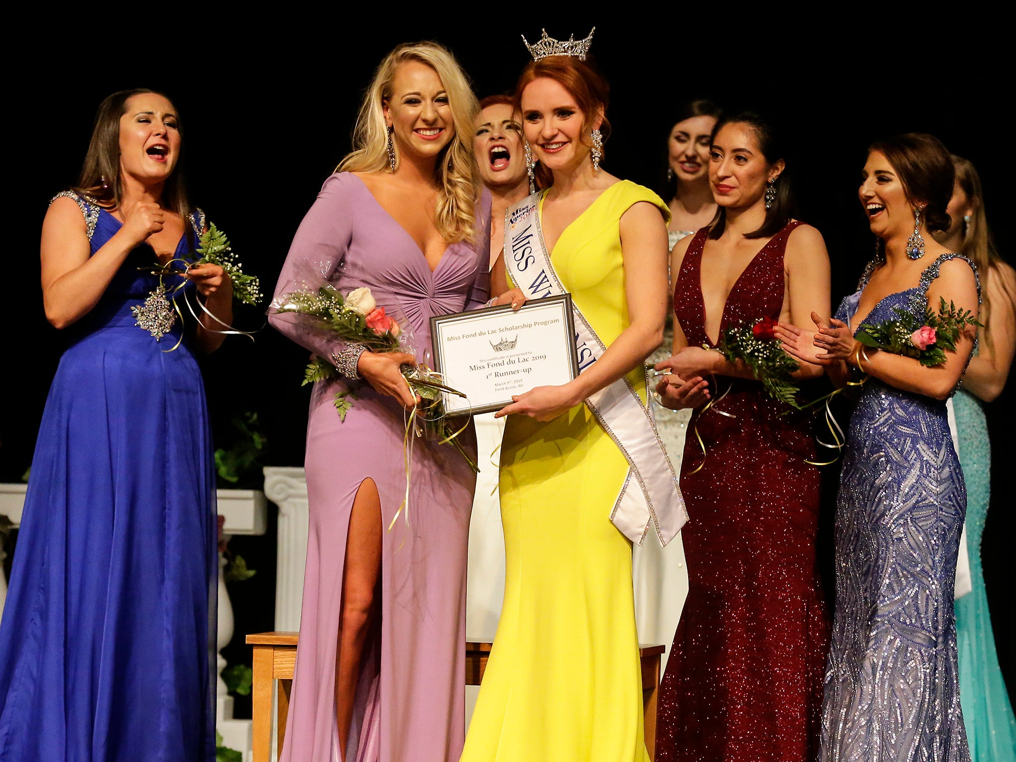 Emily VanderHouten is announced first runner up to Miss Fond du Lac during the Miss Fond du Lac, Miss Wisconsin Central and Miss Fond du Lac's Outstanding Teen 2019 scholarship competitions Saturday, March 9, 2019 at the Goodrich Little Theater in Fond du Lac, Wis. Doug Raflik/USA TODAY NETWORK-Wisconsin