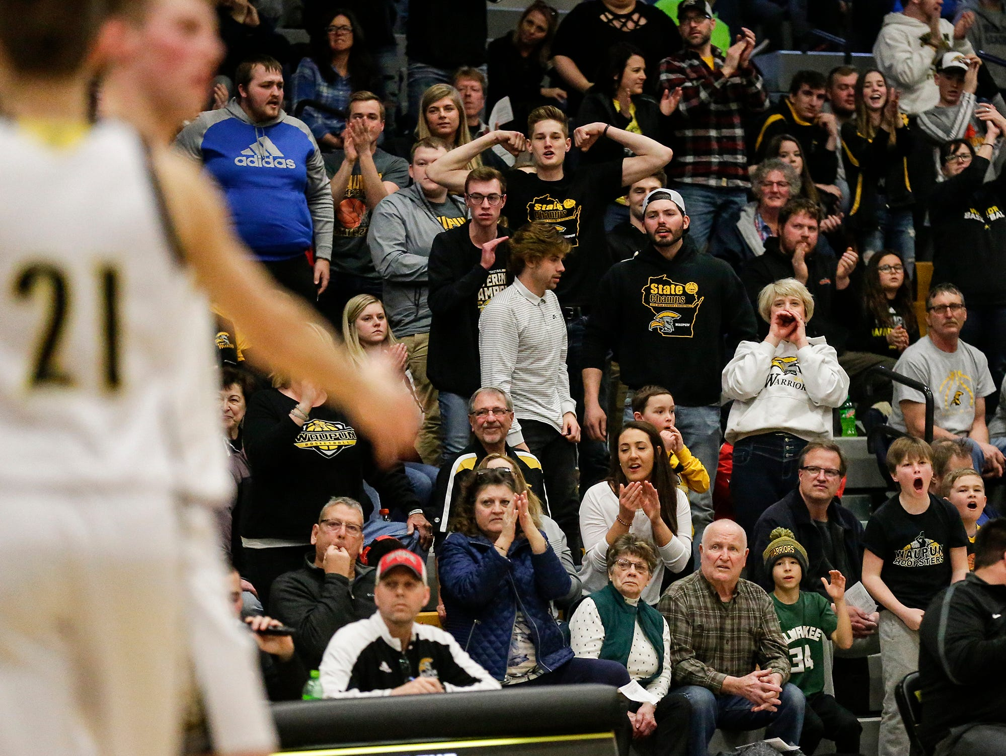 Waupun High School boys basketball fans cheer on the team during their WIAA division 3 sectional final game against Brookfield Academy Saturday, March 9, 2019 in Brown Deer, Wis. Waupun won the game 64-58 and will advance to the state tournament. Doug Raflik/USA TODAY NETWORK-Wisconsin
