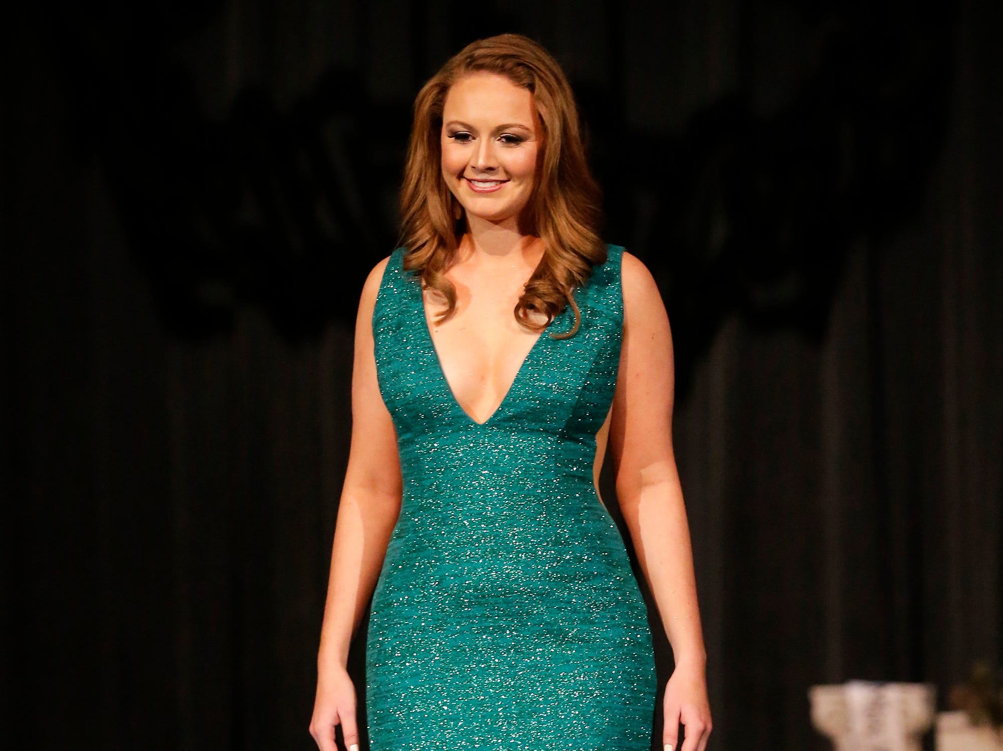 Miss Wisconsin Central contestant Kristie Dantuma participates in the evening wear portion of the Miss Fond du Lac, Miss Wisconsin Central and Miss Fond du Lac's Outstanding Teen 2019 scholarship competitions Saturday, March 9, 2019 at the Goodrich Little Theater in Fond du Lac, Wis. Doug Raflik/USA TODAY NETWORK-Wisconsin