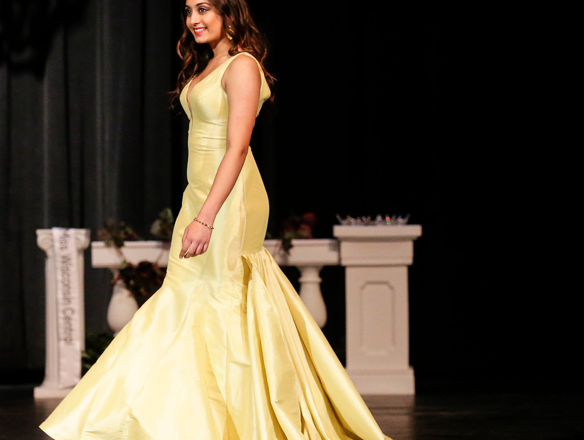 Miss Fond du Lac's Outstanding Teen contestant  Shafali Bhatt participates in the evening wear portion of the Miss Fond du Lac, Miss Wisconsin Central and Miss Fond du Lac's Outstanding Teen 2019 scholarship competitions Saturday, March 9, 2019 at the Goodrich Little Theater in Fond du Lac, Wis. Doug Raflik/USA TODAY NETWORK-Wisconsin