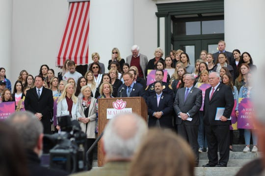 Community members and political figures met at the steps of the Historic Capitol building for the launch of Maura's Voice.