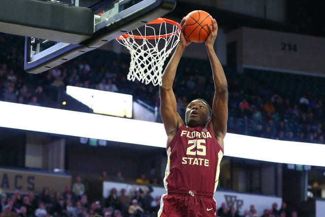 Florida State forward Mfiondu Kabengele scored seven points and grabbed nine rebounds during the Seminoles 65-57 victory over Wake Forest at Lawrence Joel Coliseum.