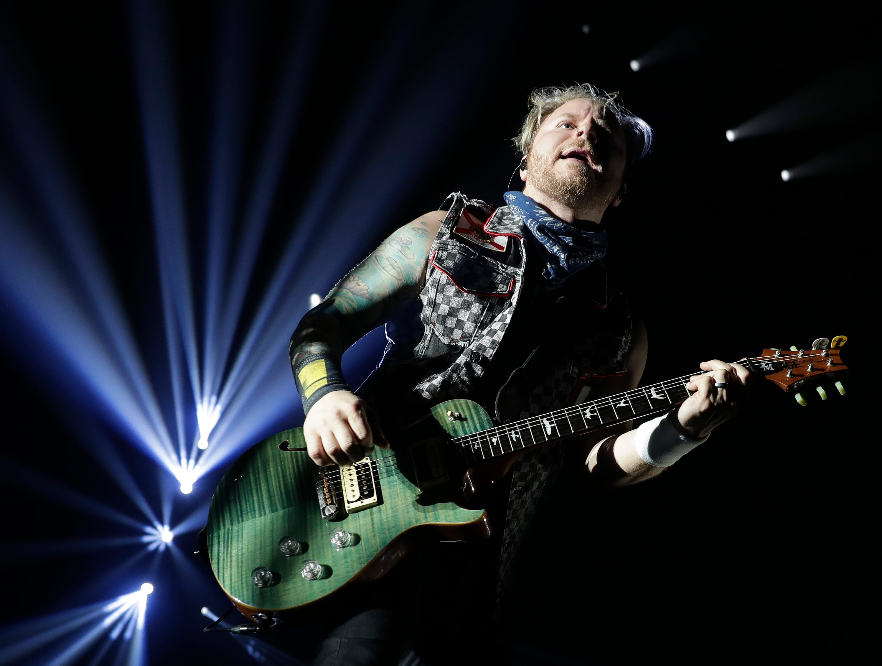 Zach Myers of Shinedown performs March 9, 2019, at the Brown County Veterans Memorial Arena in Ashwaubenon, Wis.