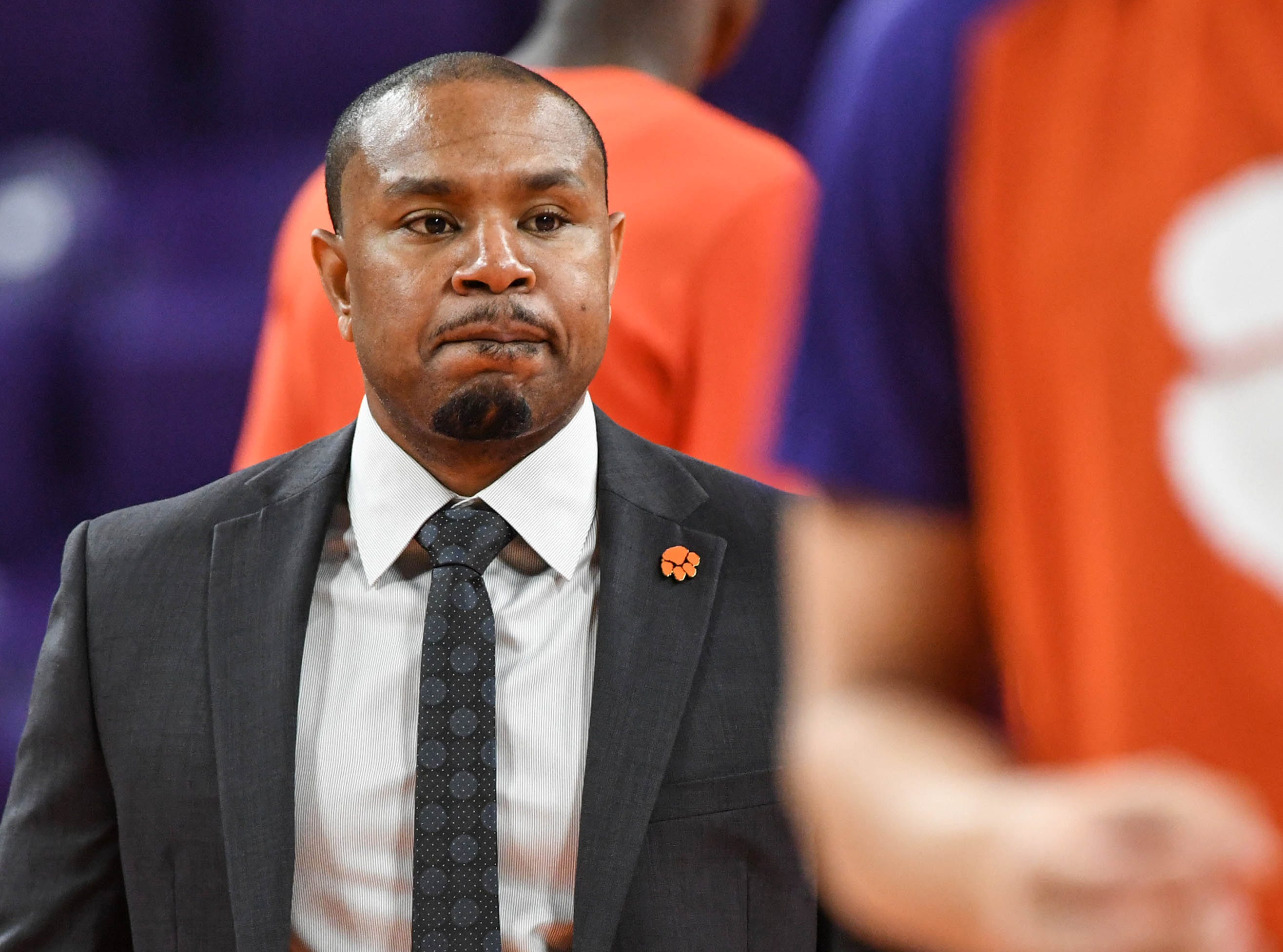 Clemson assistant Terrell McIntyre watches players warm up before the game against Syracuse Saturday, March 9, 2019.