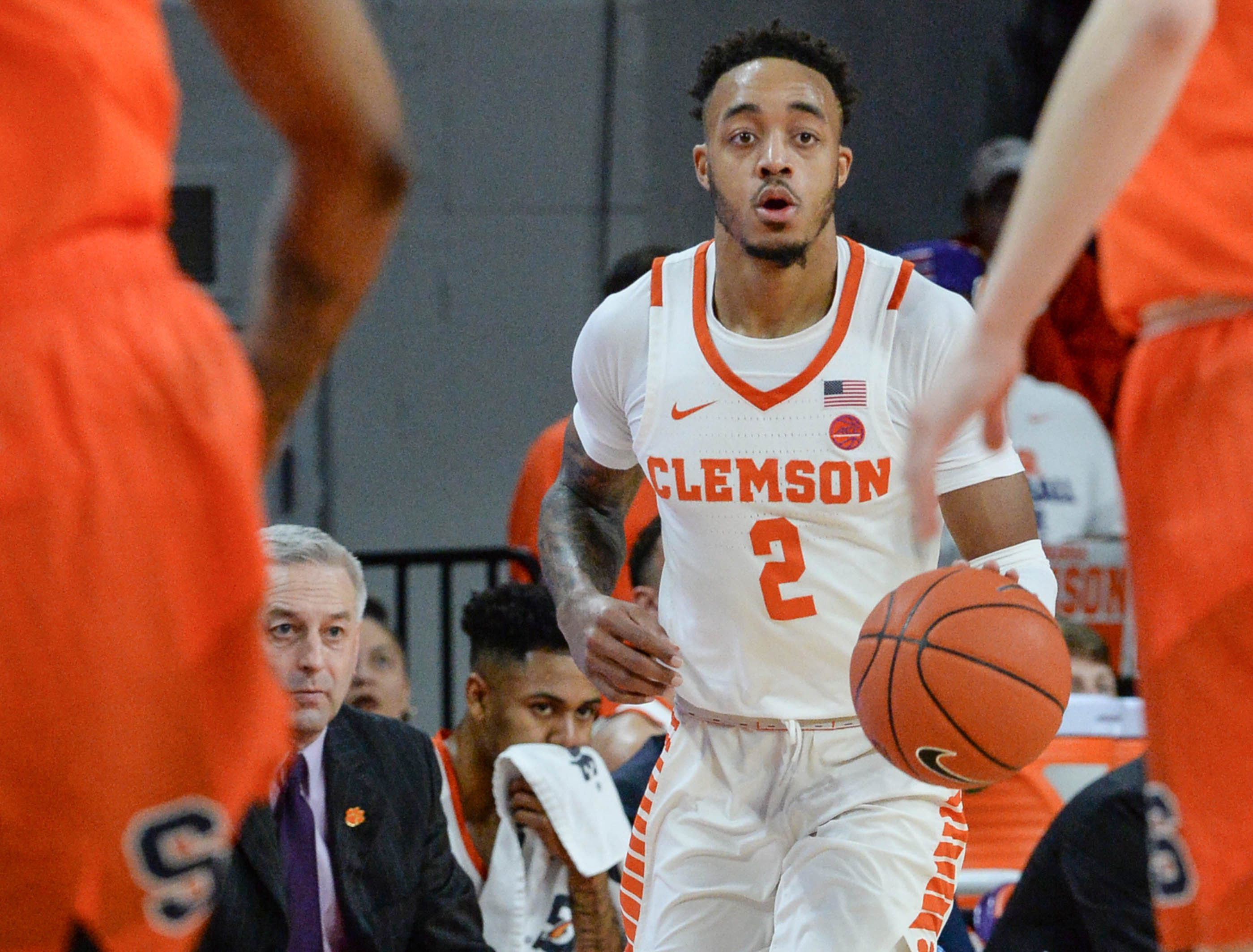Clemson guard Marcquise Reed (2) dribbles during the first half at Littlejohn Coliseum in Clemson Saturday, March 9, 2019.