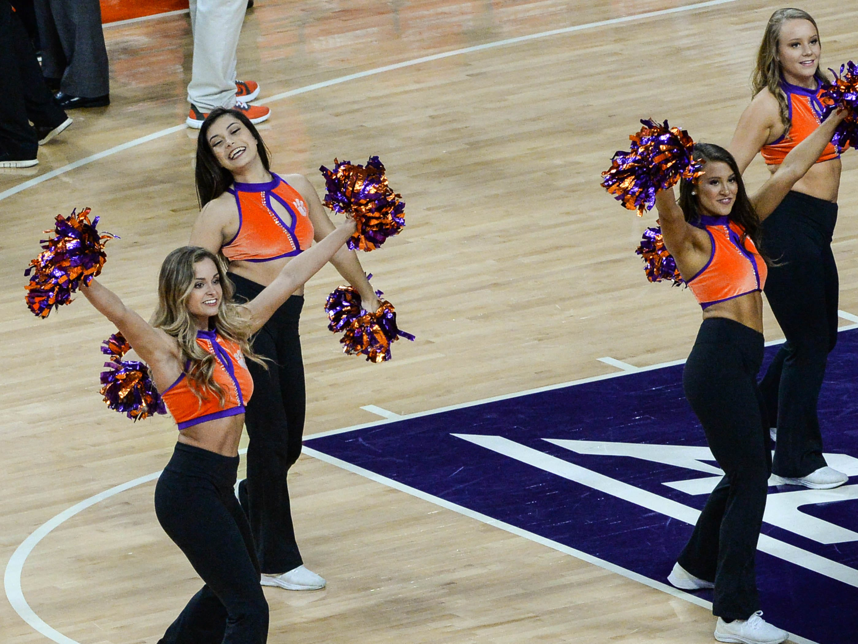 Clemson Rally Cats dance during the first half at Littlejohn Coliseum in Clemson Saturday, March 9, 2019.