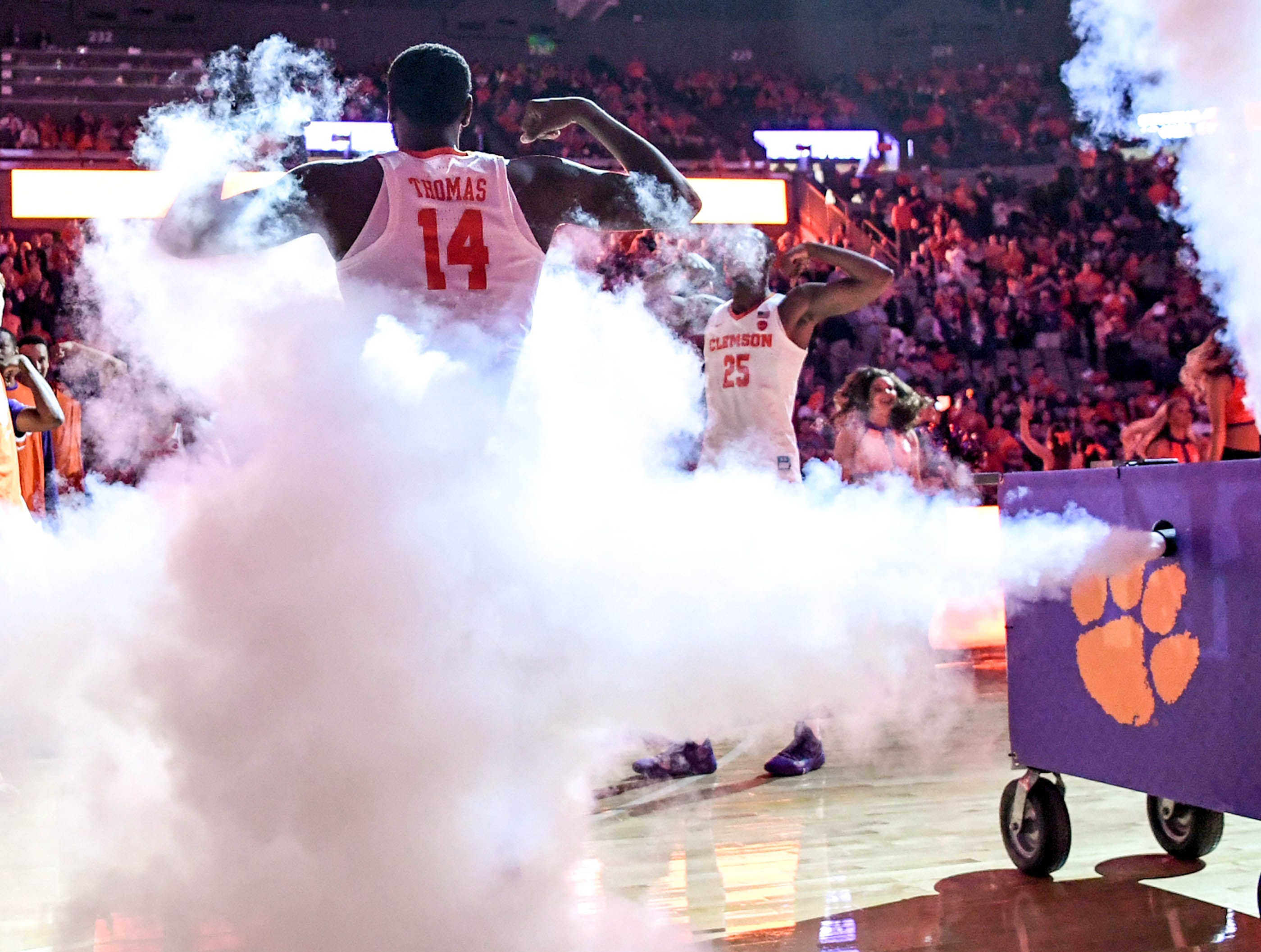 Clemson forward Elijah Thomas (14) is introduced before the game against Syracuse Saturday, March 9, 2019.