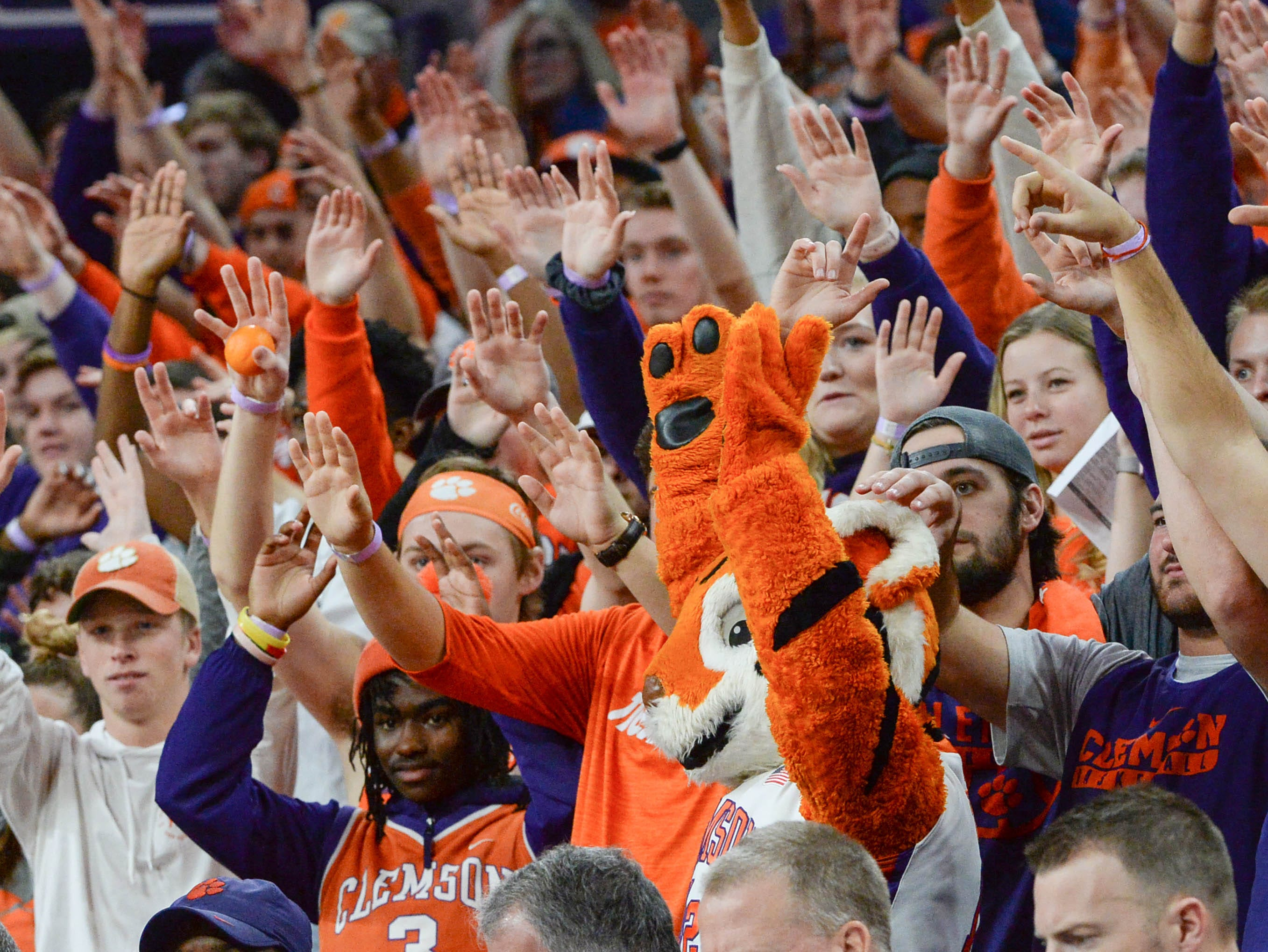 Clemson fans and the Tiger Cub during the first half at Littlejohn Coliseum in Clemson Saturday, March 9, 2019.