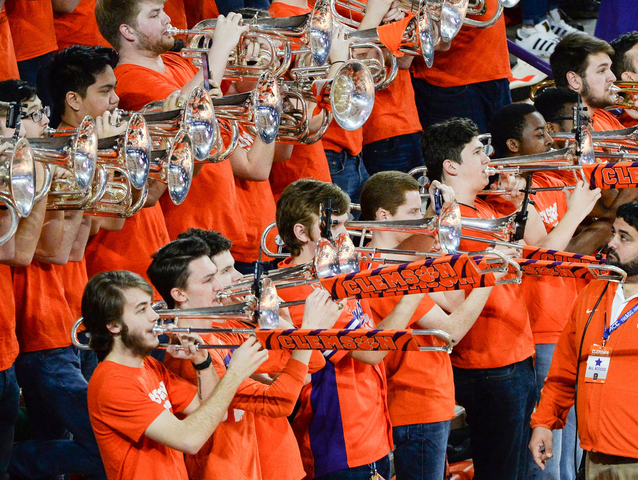 Clemson band play before the game against Syracuse Saturday, March 9, 2019.