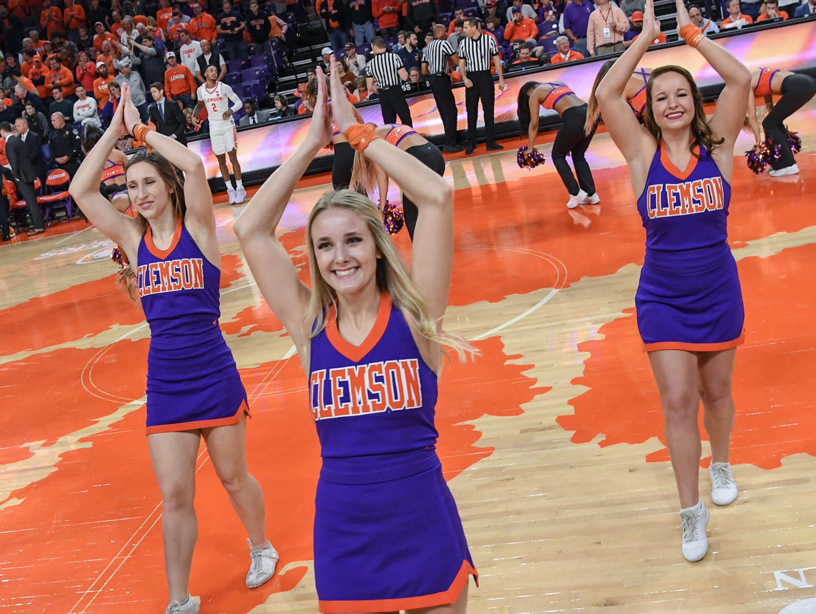 Clemson cheerleaders perform during the first half at Littlejohn Coliseum in Clemson Saturday, March 9, 2019.