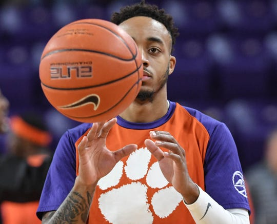 Clemson guard Marcquise Reed (2) warms up before the game against Syracuse Saturday, March 9, 2019.