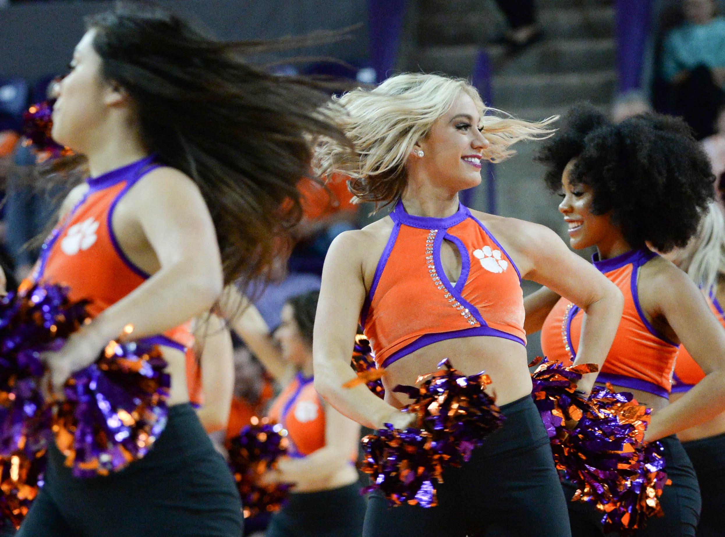 Clemson Rally Cats dance before the game against Syracuse Saturday, March 9, 2019.