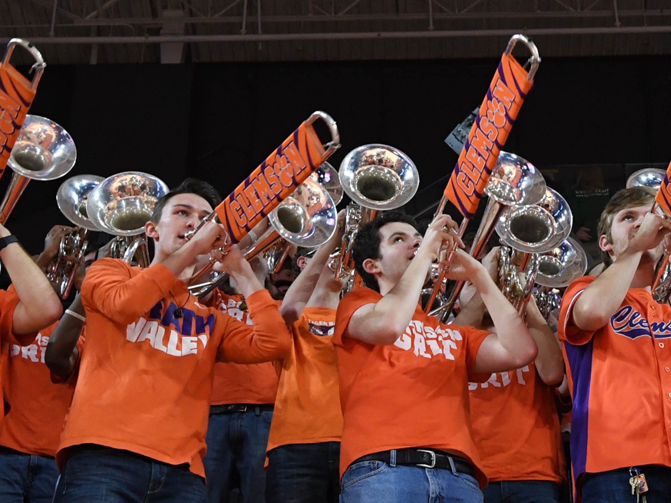 Clemson band plays during the first half at Littlejohn Coliseum in Clemson Saturday, March 9, 2019.