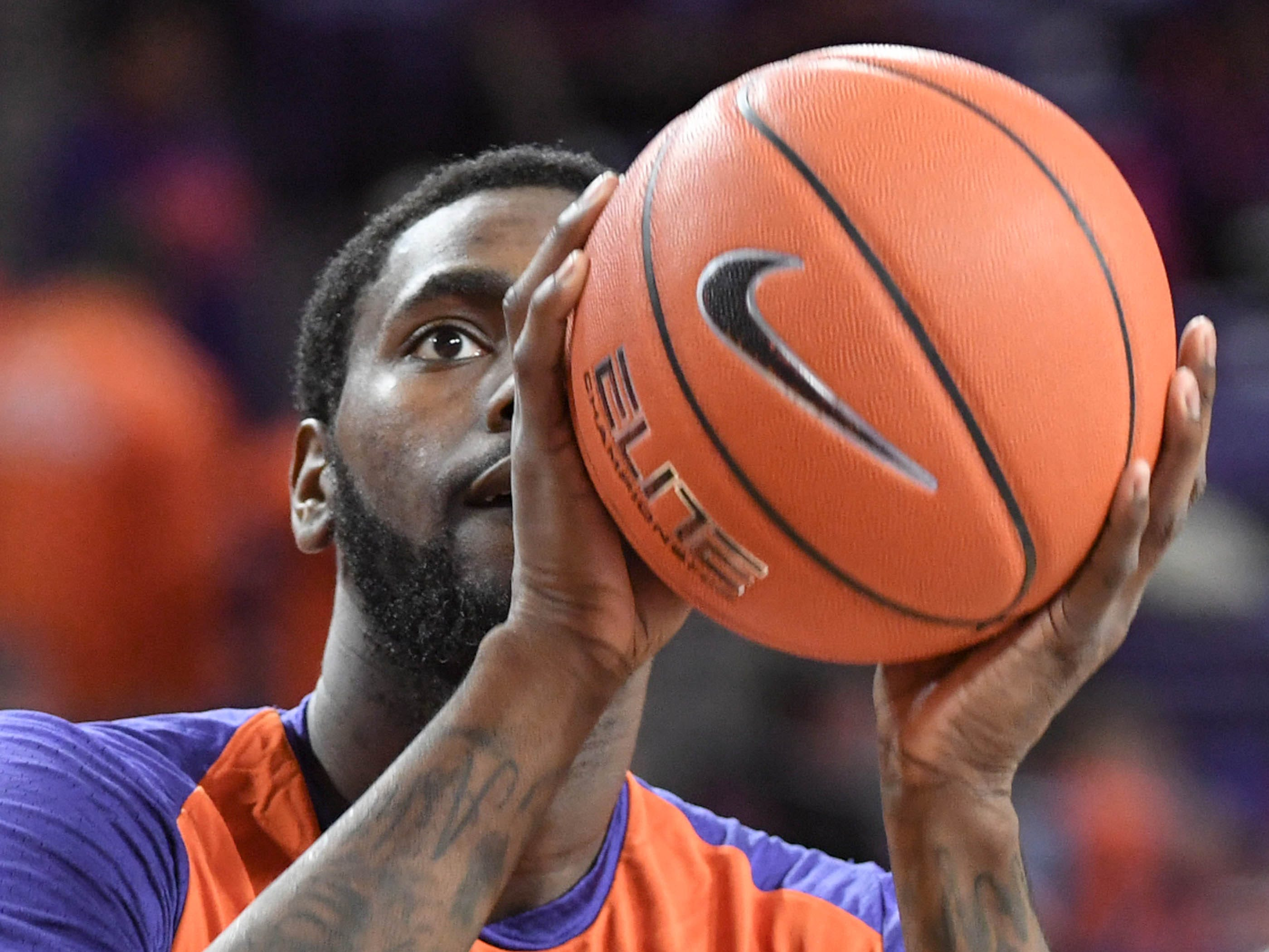 Clemson forward Elijah Thomas (14) warms up before the game against Syracuse Saturday, March 9, 2019.