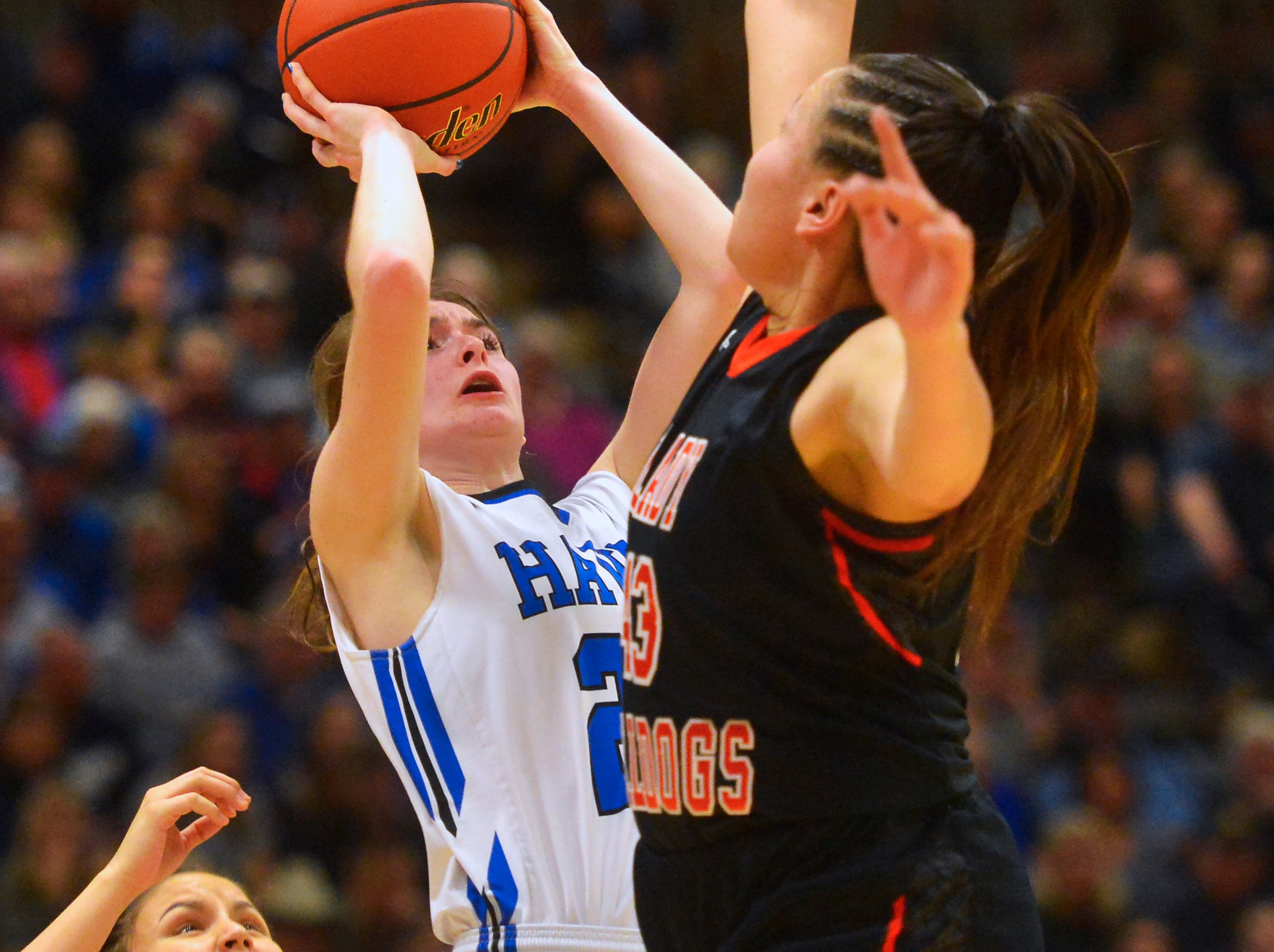 Havre's Katie Wirtzberger attempts a shot as Hardin's Marie Five defends in the championship game of the State Class A Basketball Tournament in the Four Seasons Arena, Saturday.