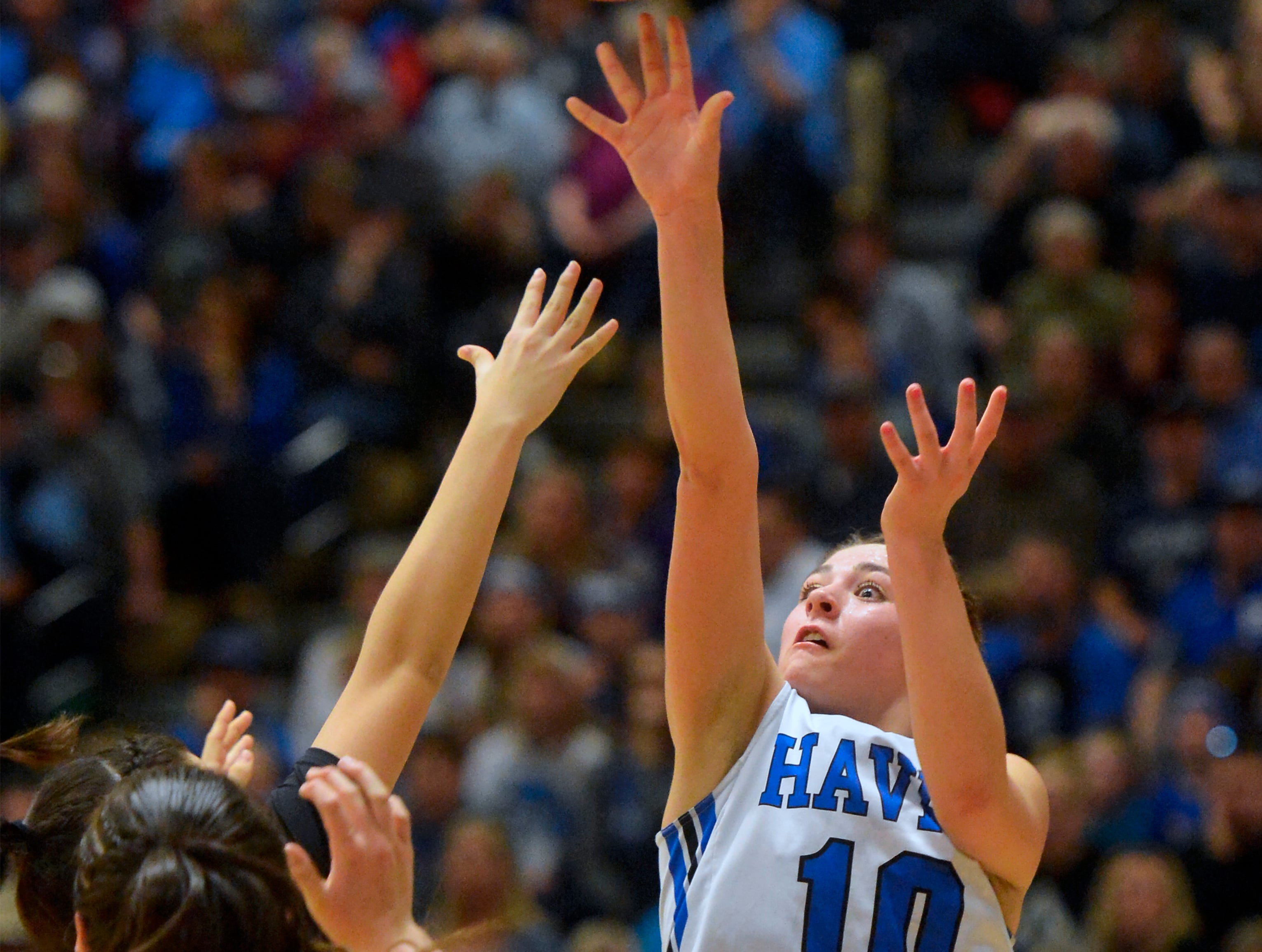 Havre's Kyndall Keller shoots in the championship game of the State Class A Basketball Tournament in the Four Seasons Arena, Saturday.
