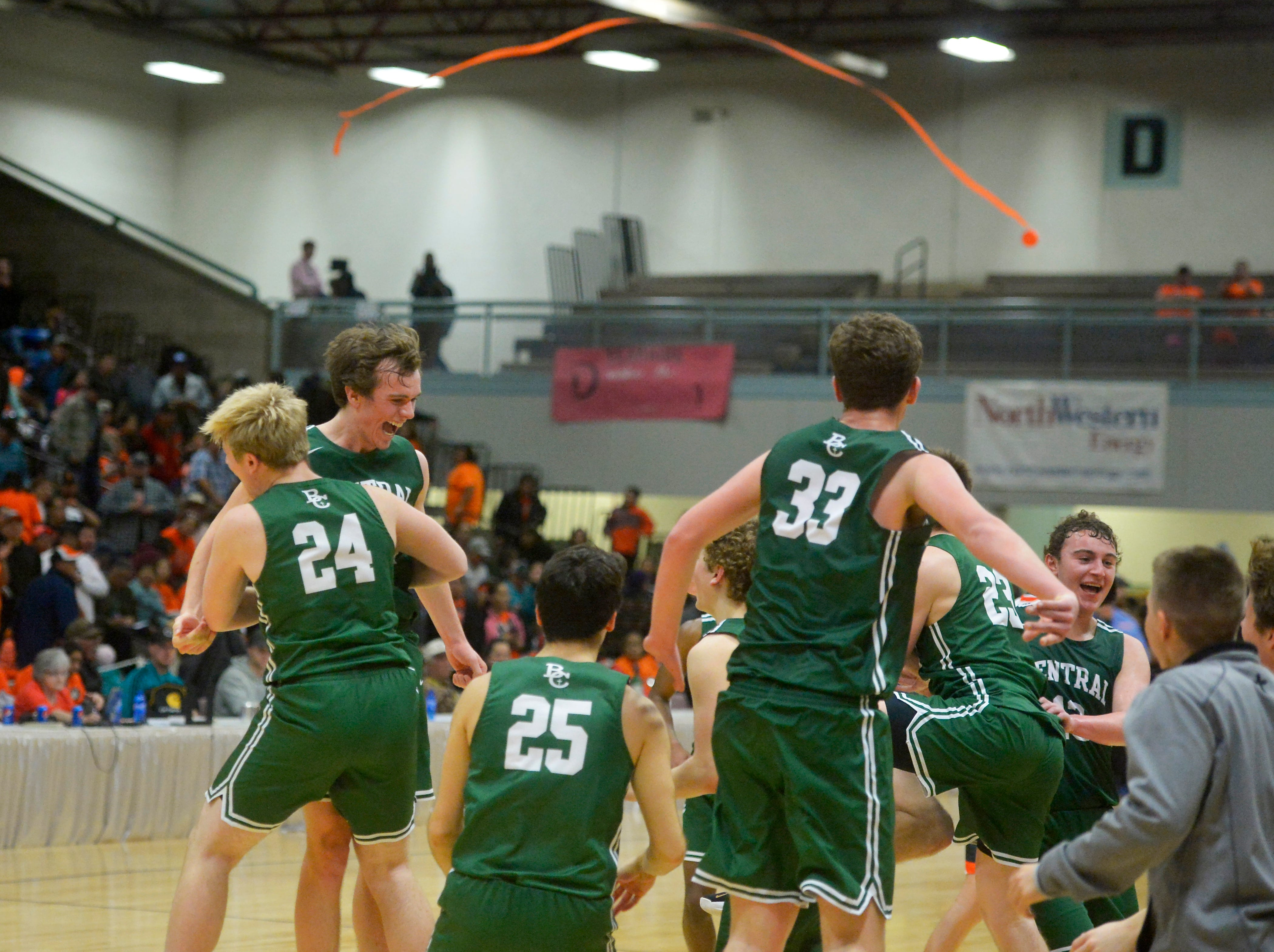 Billings Central defeated Hardin 62-44 in the championship game of the State Class A Basketball Tournament in the Four Seasons Arena, Saturday.