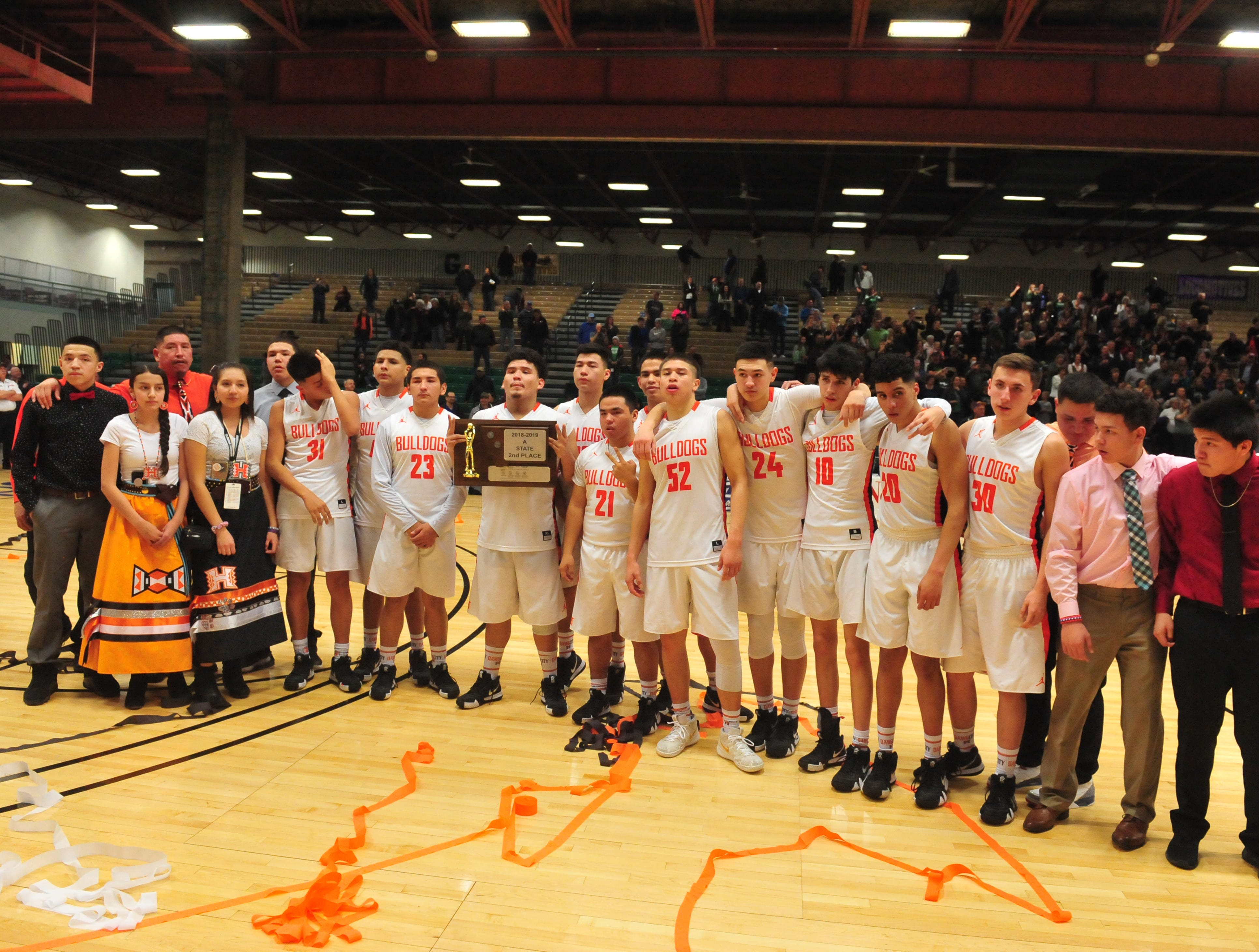 Hardin and Billings Central boys play in the title game of the State Class A Basketball Tournament in the Four Seasons Arena, Saturday.