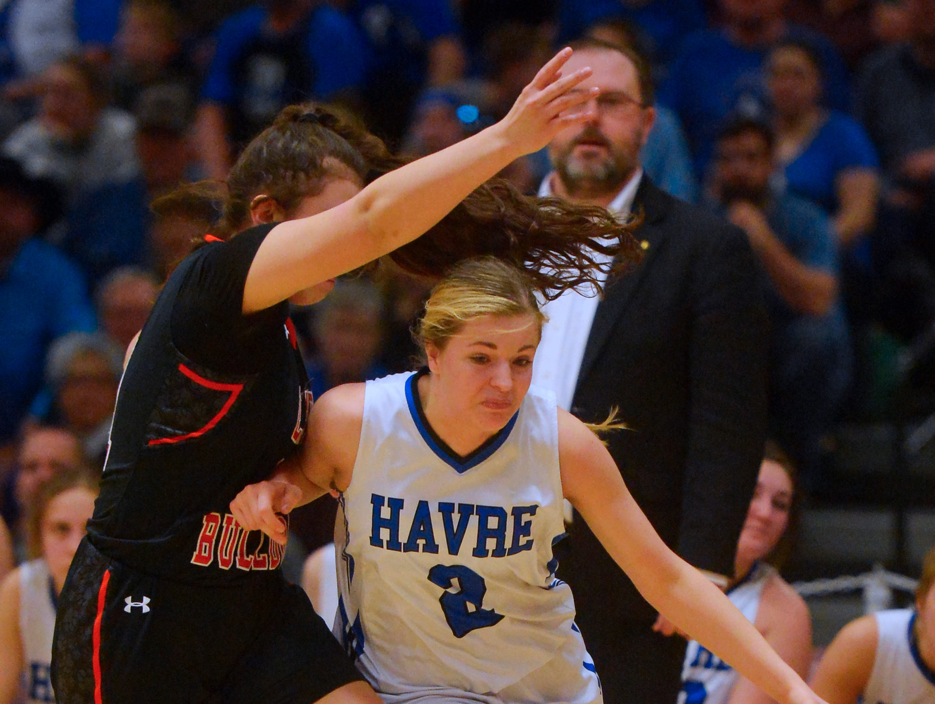 Havre's Sam Oliver drives to the basket during the title game of the State Class A Basketball Tournament against Hardin in the Four Seasons Arena, Saturday.