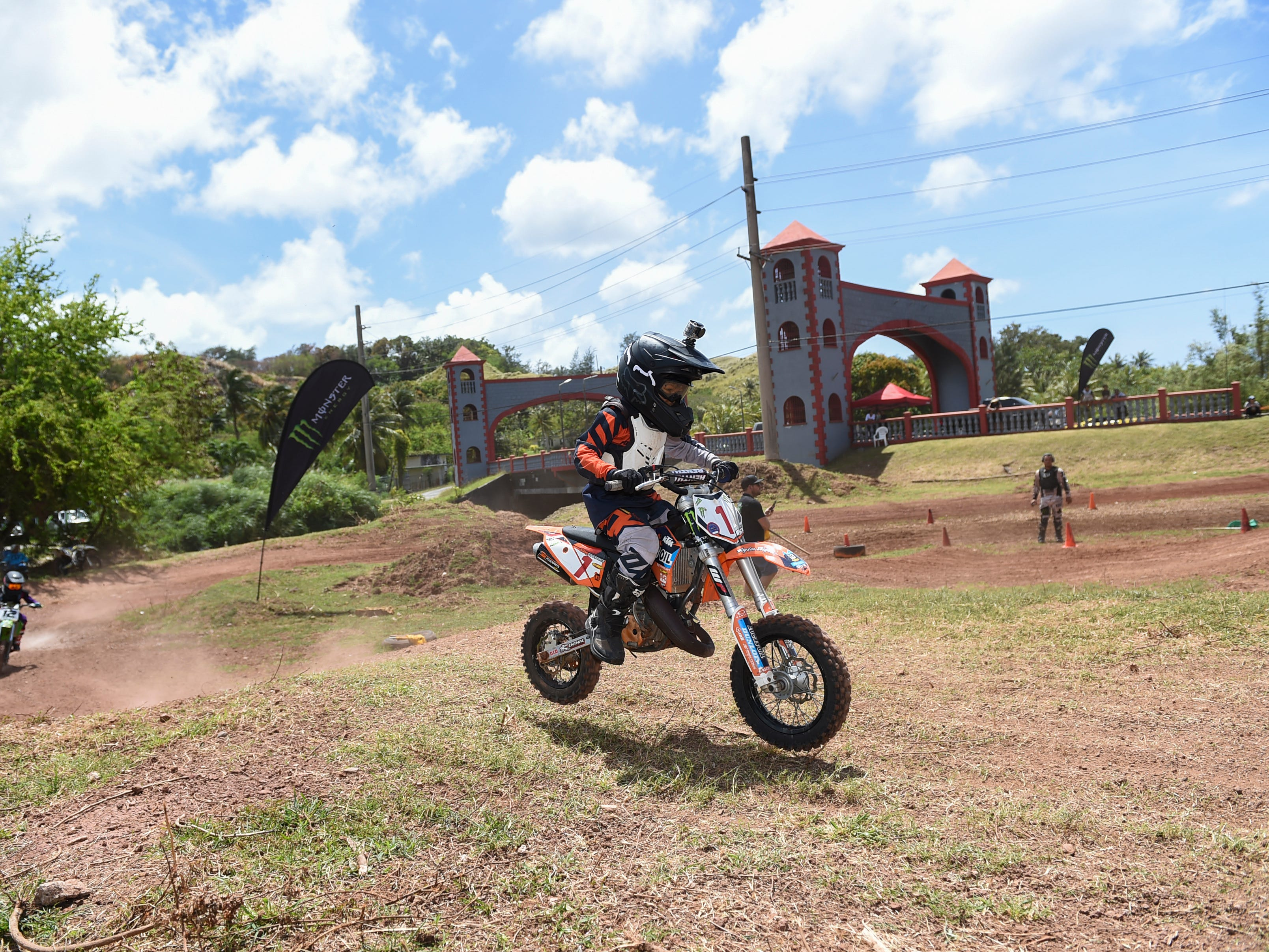 John Aguon (1) competes in a 65cc motocross race during the Guam History and Chamorro Heritage Day Festival 2019 at Umatac Bay Park, March 10, 2019.