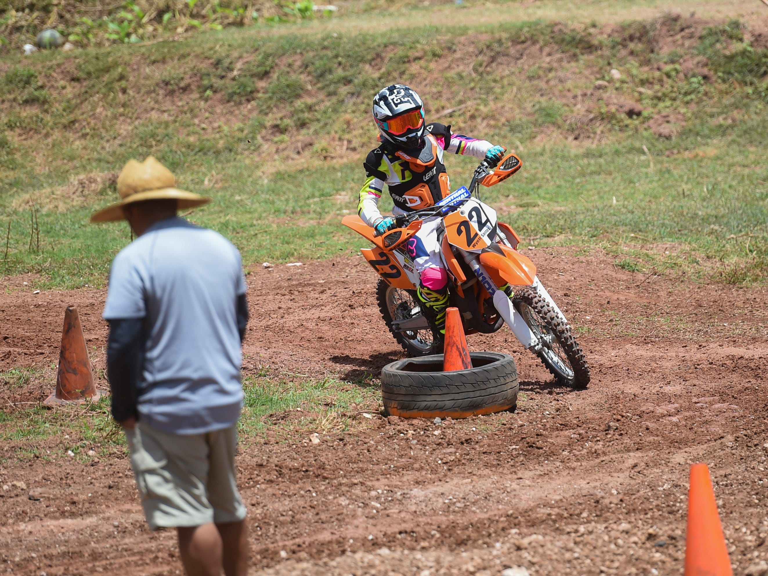 Wyett Santos races in a 85cc/150cc open kids minibike race during the Guam History and Chamorro Heritage Day Festival 2019 at Umatac Bay Park, March 10, 2019.