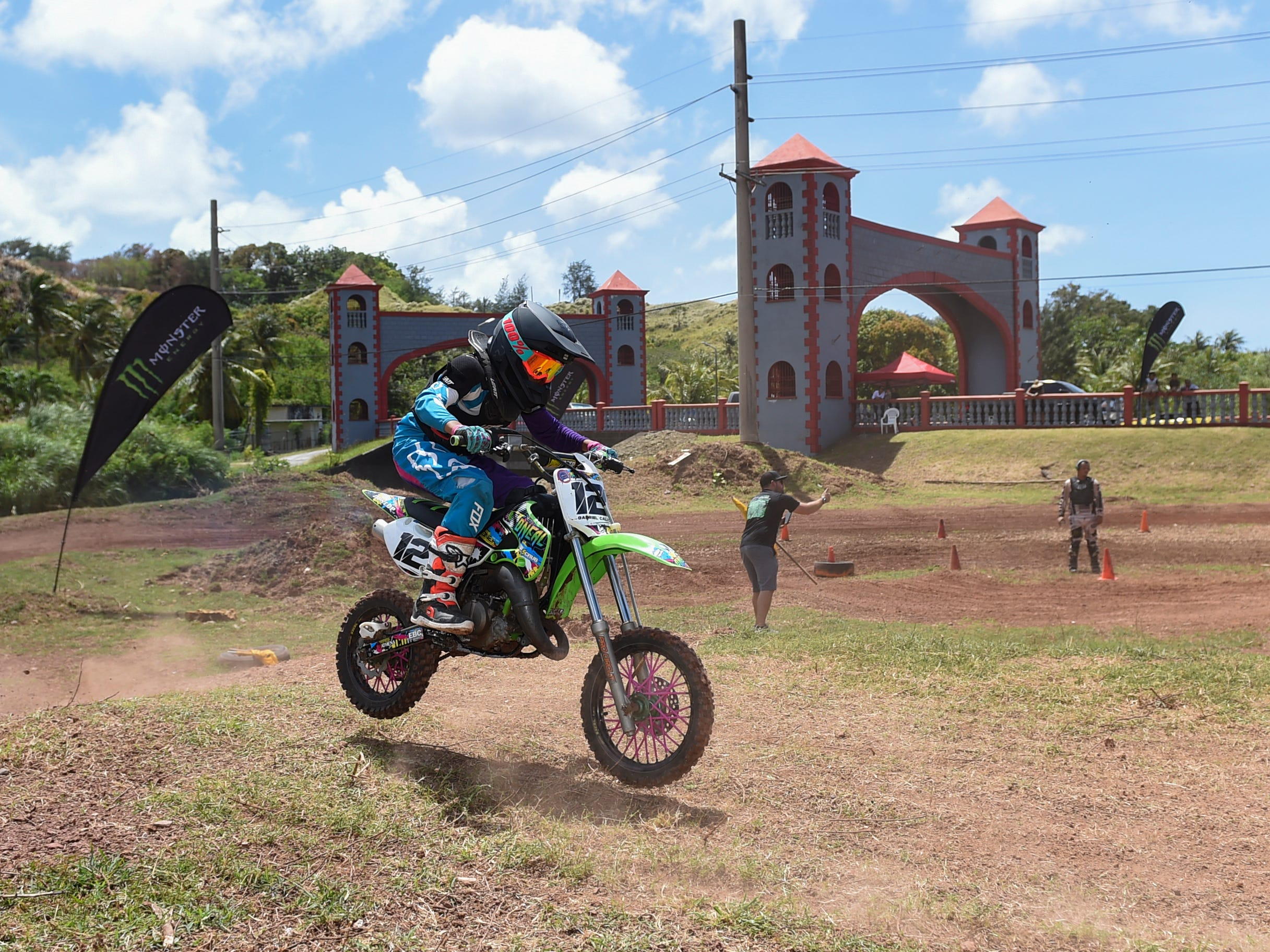 Motocross competitor Gabriel Calvo races in a 65cc kids minibike class course during the Guam History and Chamorro Heritage Day Festival 2019 at Umatac Bay Park, March 10, 2019.