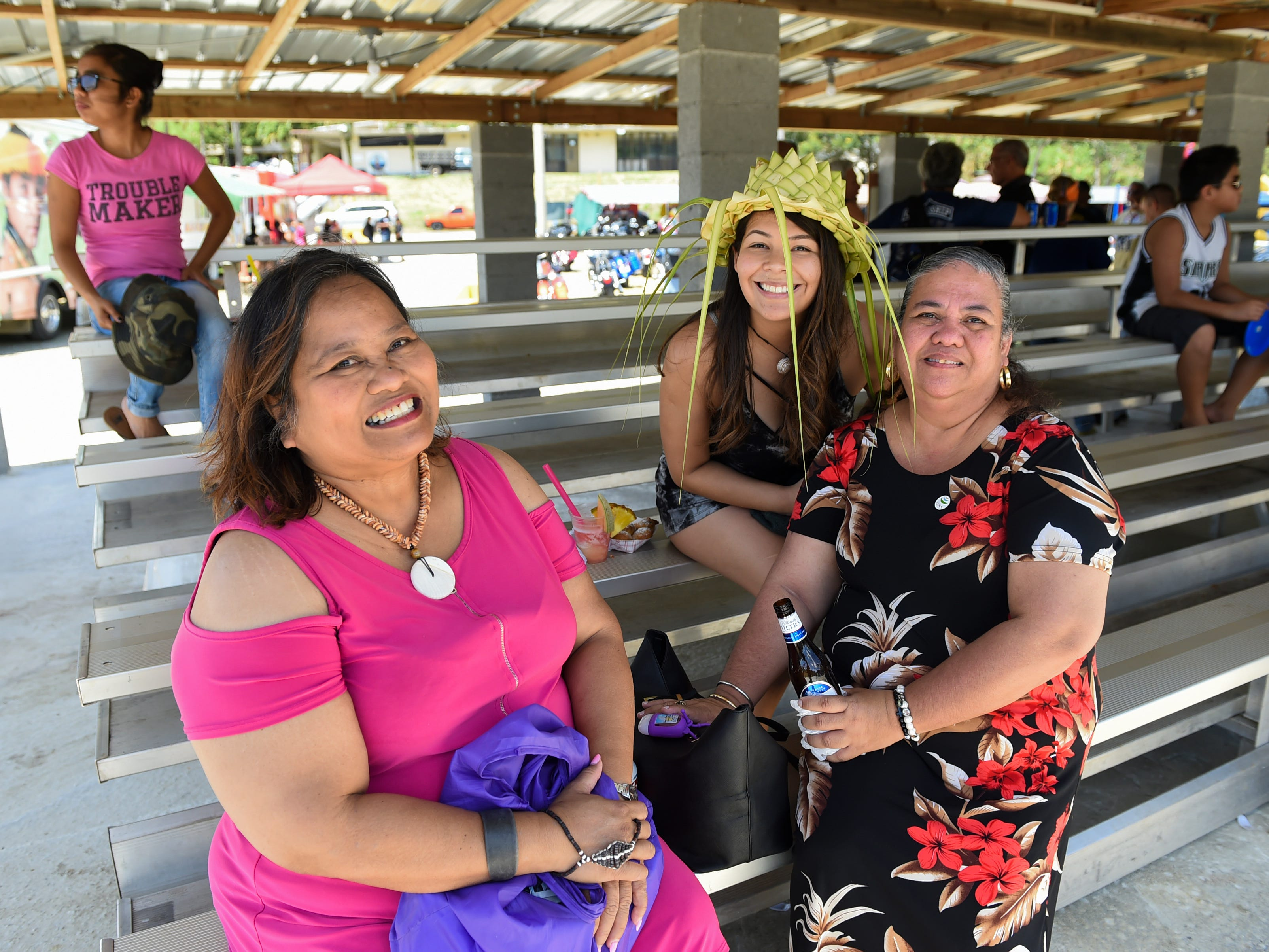 Esther Mallada, left, Dulce Mendoza, center, and Dot Blas during the Guam History and Chamorro Heritage Day Festival 2019 at Umatac Bay Park, March 10, 2019.