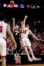 Iowa's Jordan Bohannon (3) tries for a game-winning 3-pointer, but has his shot blocked by Nebraska's Thorir Thorbjarnarson in overtime Sunday.