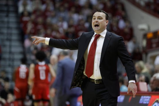 Indiana head coach Archie Miller shouts instructions during the first half of an NCAA college basketball game against Rutgers, Sunday, March 10, 2019, in Bloomington, Ind.