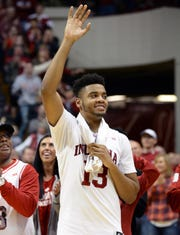 Indiana Hoosiers forward Juwan Morgan (13) waves to the crowd after his senior day speech during the game against Rutgers at Simon Skjodt Assembly Hall in Bloomington Ind., on Sunday, March 10, 2019.