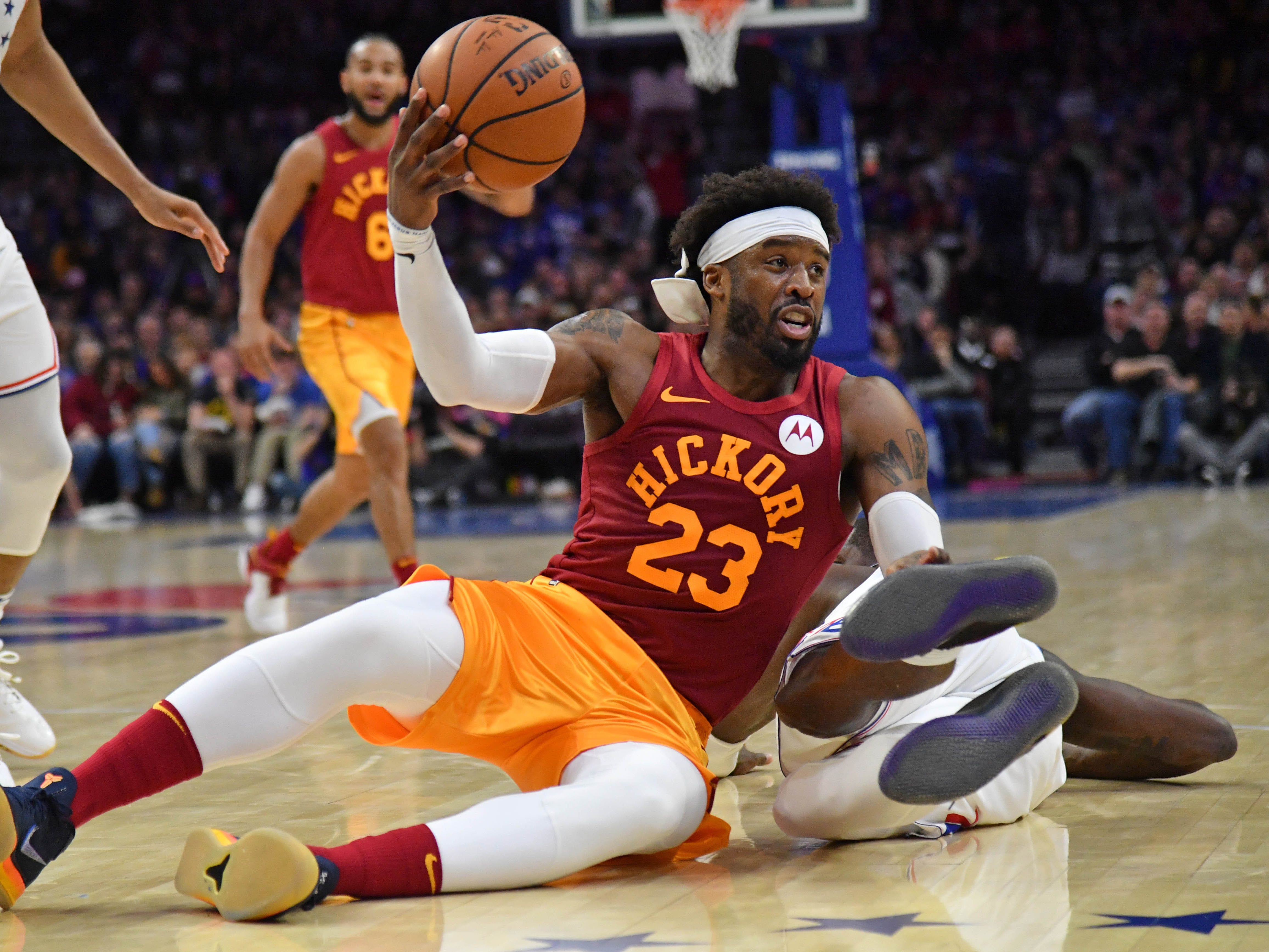 Mar 10, 2019; Philadelphia, PA, USA; Indiana Pacers guard Wesley Matthews (23) passes the ball against the Philadelphia 76ers during the second quarter at Wells Fargo Center.