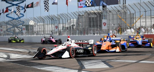 Team Penske driver Josef Newgarden (2) of United States drives through turn one during the Grand Prix of St. Petersburg (Fla.) auto race Sunday, March 10, 2019, in St Petersburg, Fla.