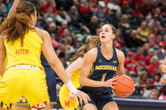 Mar 9, 2019; Indianapolis, IN, United States; Michigan Wolverines guard Amy Dilk (1) looks to shoot the ball in the second half against the Maryland Terrapins in the women's Big Ten Conference Tournament at Bankers Life Fieldhouse. Mandatory Credit: Trevor Ruszkowski-USA TODAY Sports
