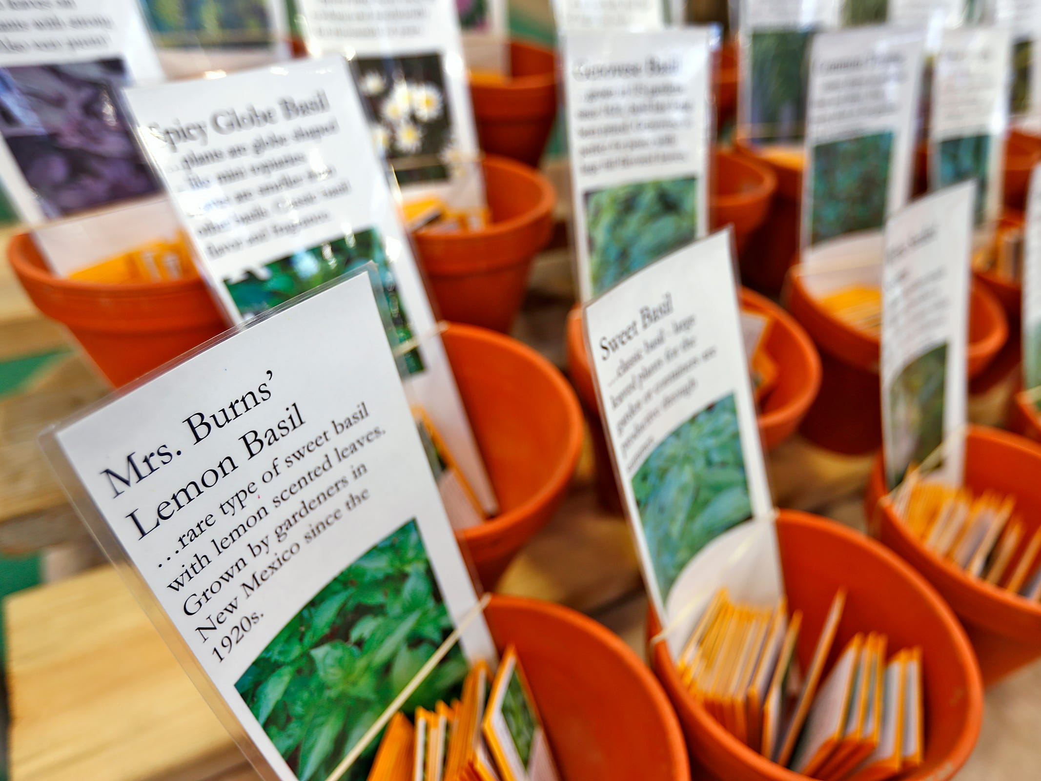 Heirloom and Vegetable seeds are for sale at the Circa Plants booth at the Indiana Flower + Patio Show, at the Indiana State Fairgrounds, Sunday, March 10, 2019.